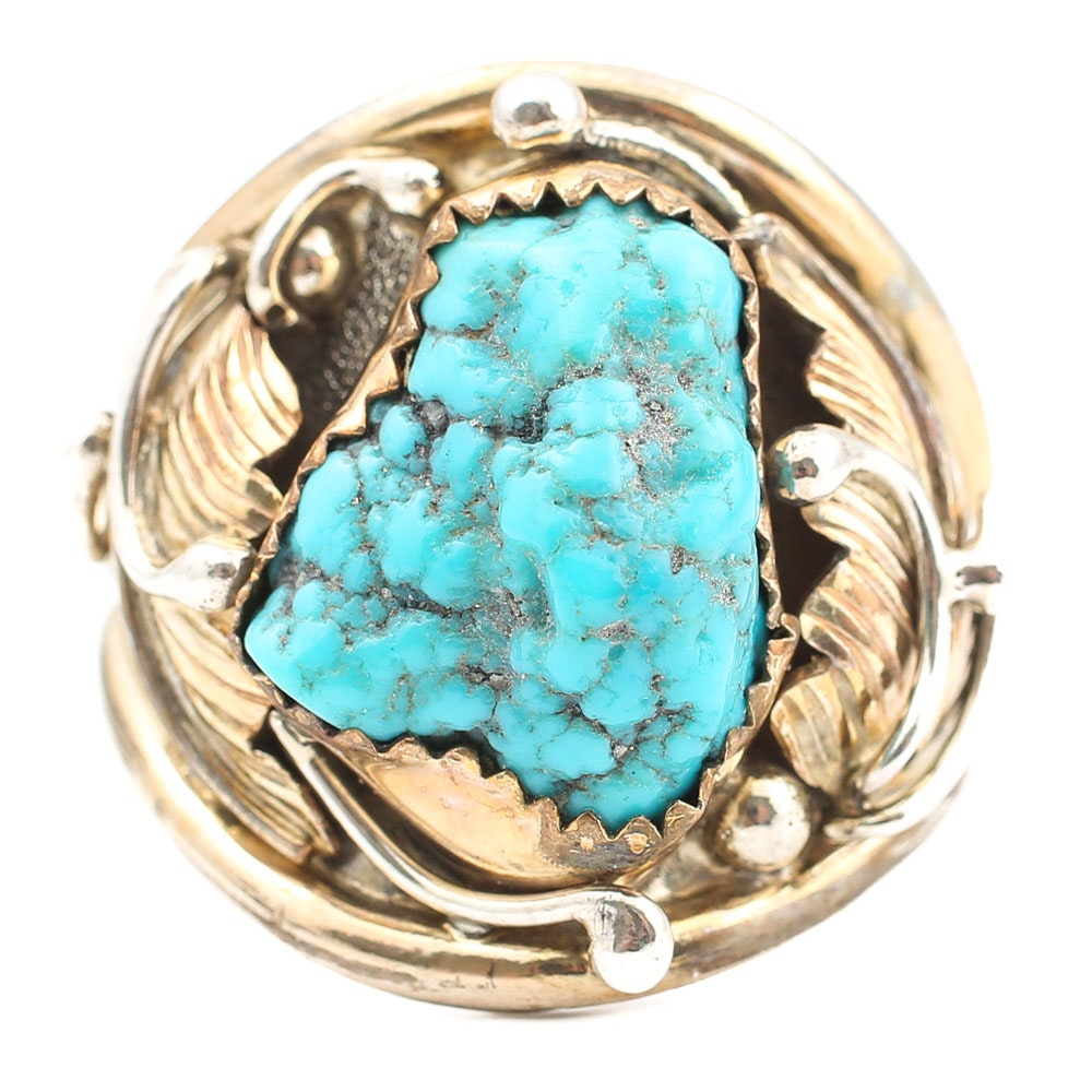 Sterling Silver Native American Style Turquoise Nugget Ring w/ Gold Filled Frame