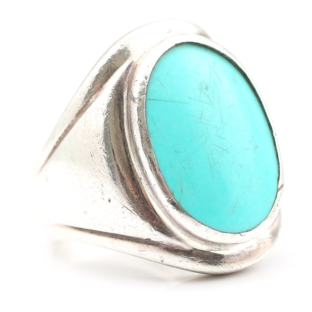 Sterling Silver Bezel Set Simulated Turquoise Ring