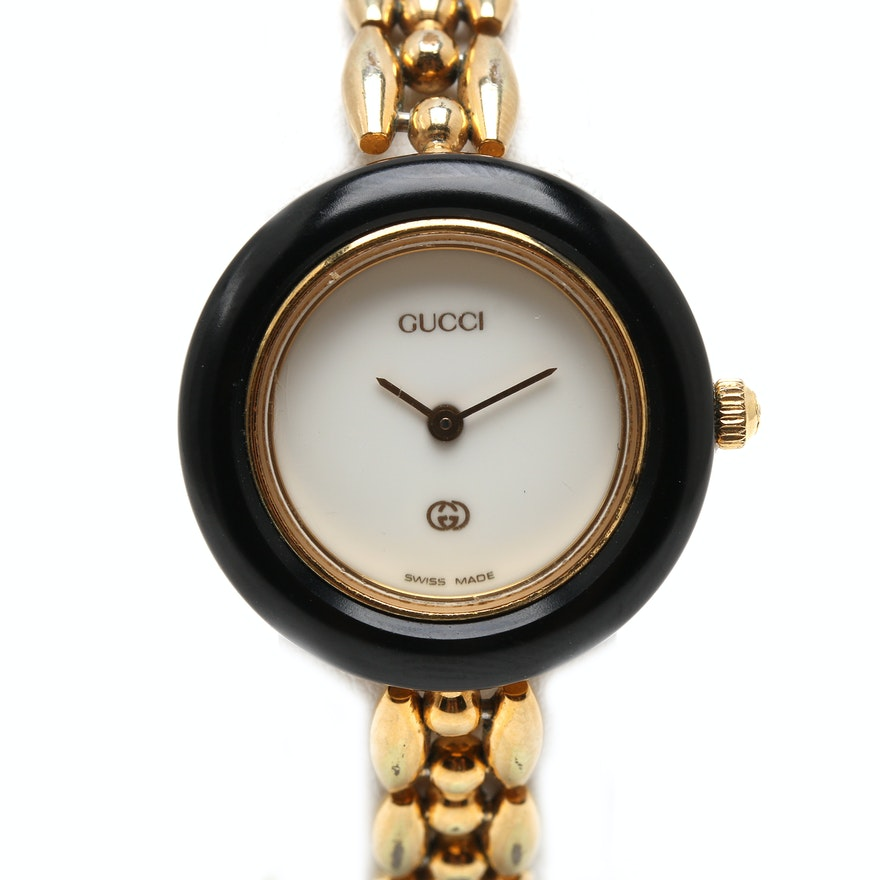 667bef4d187 Gucci Gold Tone Wristwatch with Interchangeable Bezels   EBTH