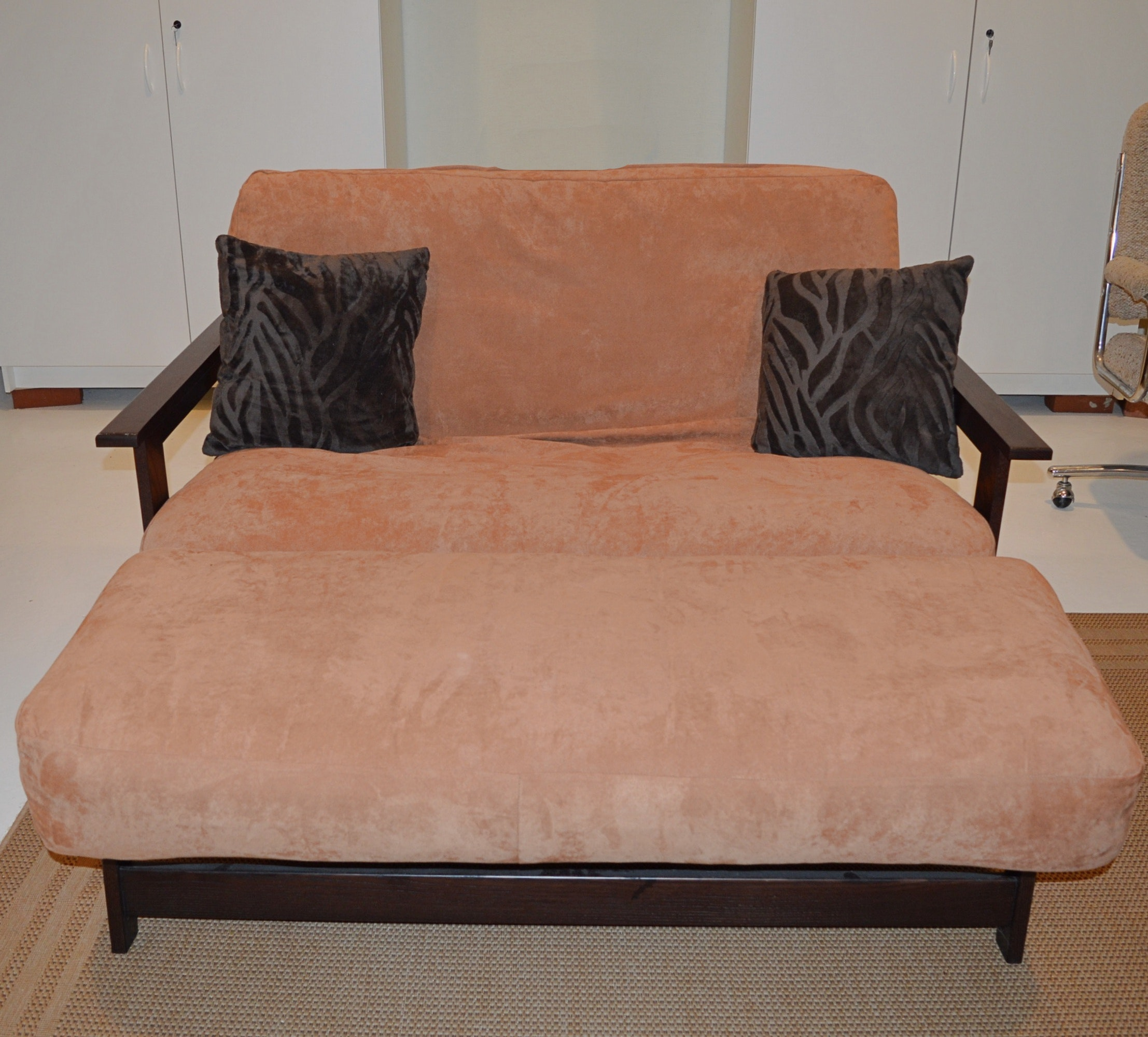 Futon Sofa With Thick Ultra Suede Upholstered Cushions ...