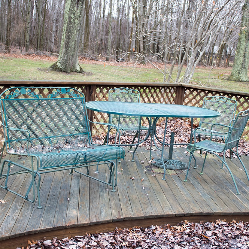 Mesh Outdoor Patio Table, Chairs and Glider
