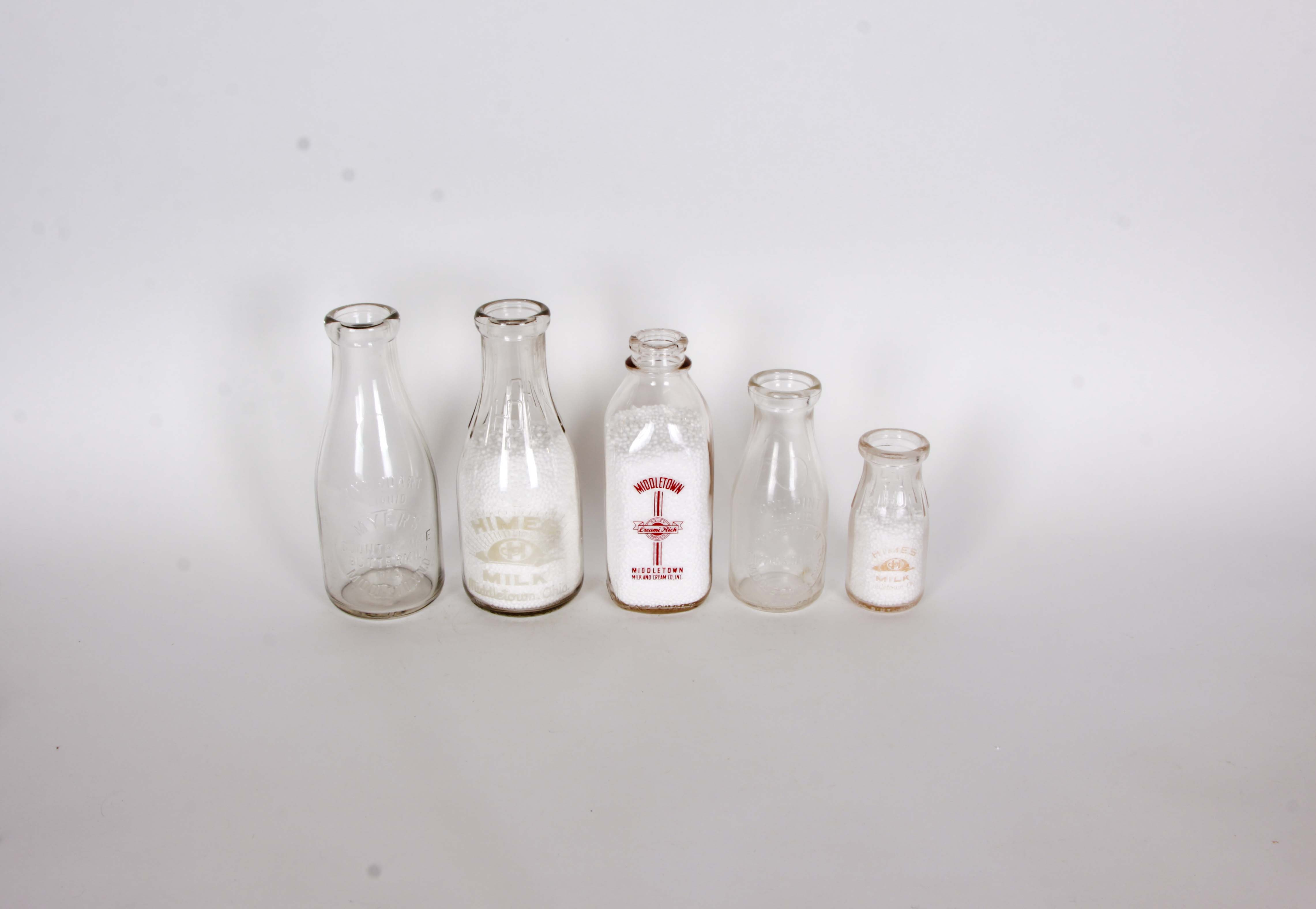 Collection of Vintage Middletown Ohio Milk Bottles