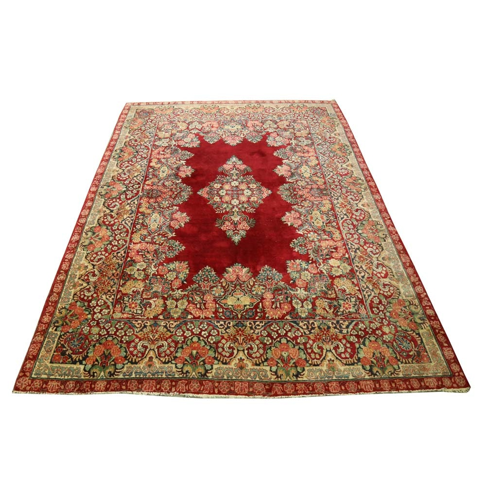 Large Hand-Knotted Persian Lavar Kerman Wool Area Rug