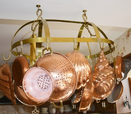 Copper Pans and Brass Pot Ceiling Hanger