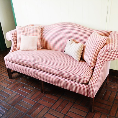 cr laine sofa. C.R. Laine Plaid Camelback Sofa Cr