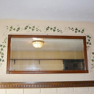 Vintage Oak Rectangle Wall Mirror