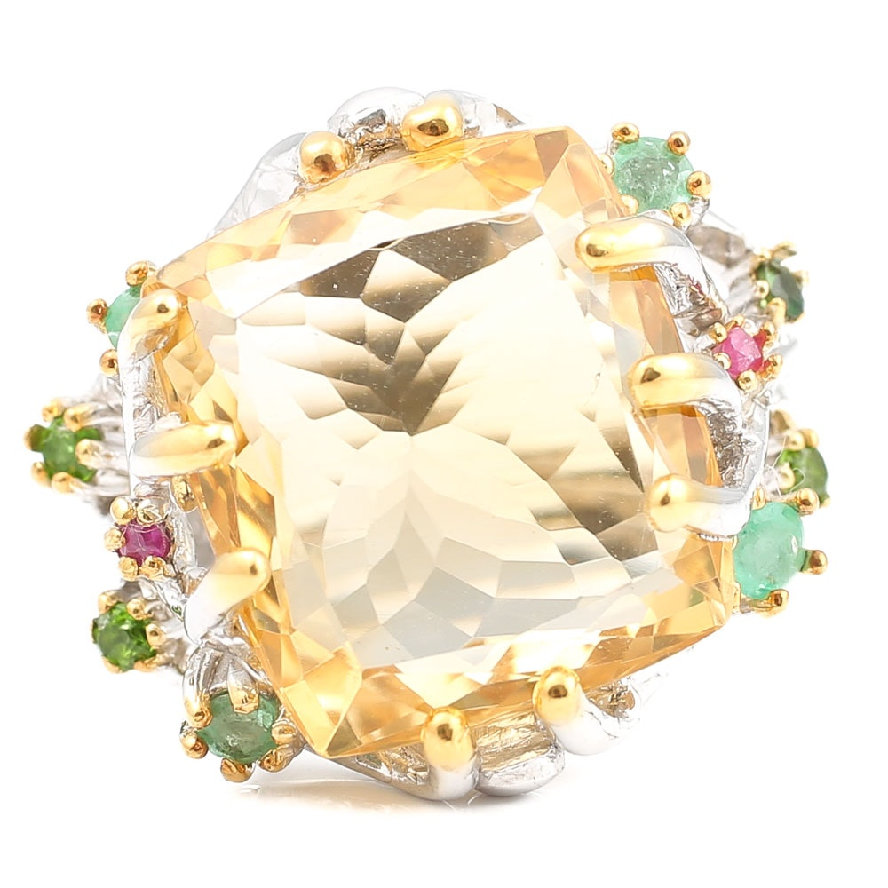 Sterling 9.06 CT Citrine, Emerald, Ruby and Peridot Ring