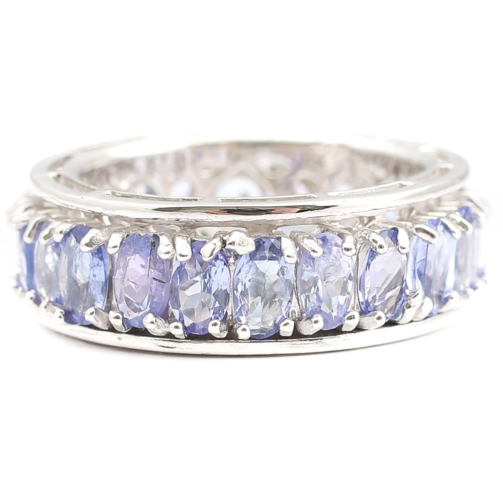 Sterling 5.30 CTW Tanzanite Eternity Band Ring