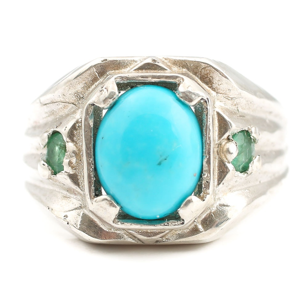Sterling Silver Turquoise and Emerald Ring