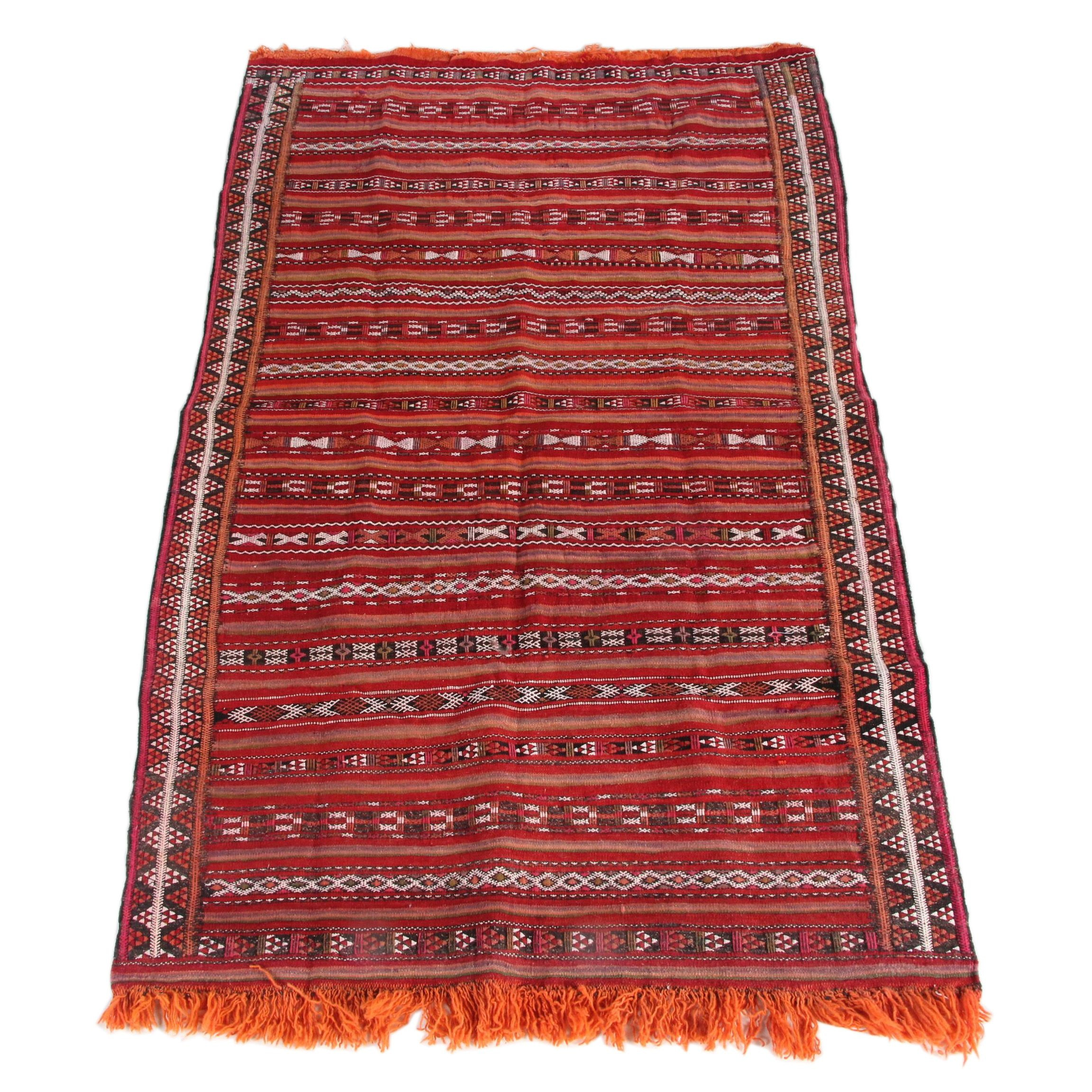 Handwoven and Embroidered Moroccan Wool Area Rug