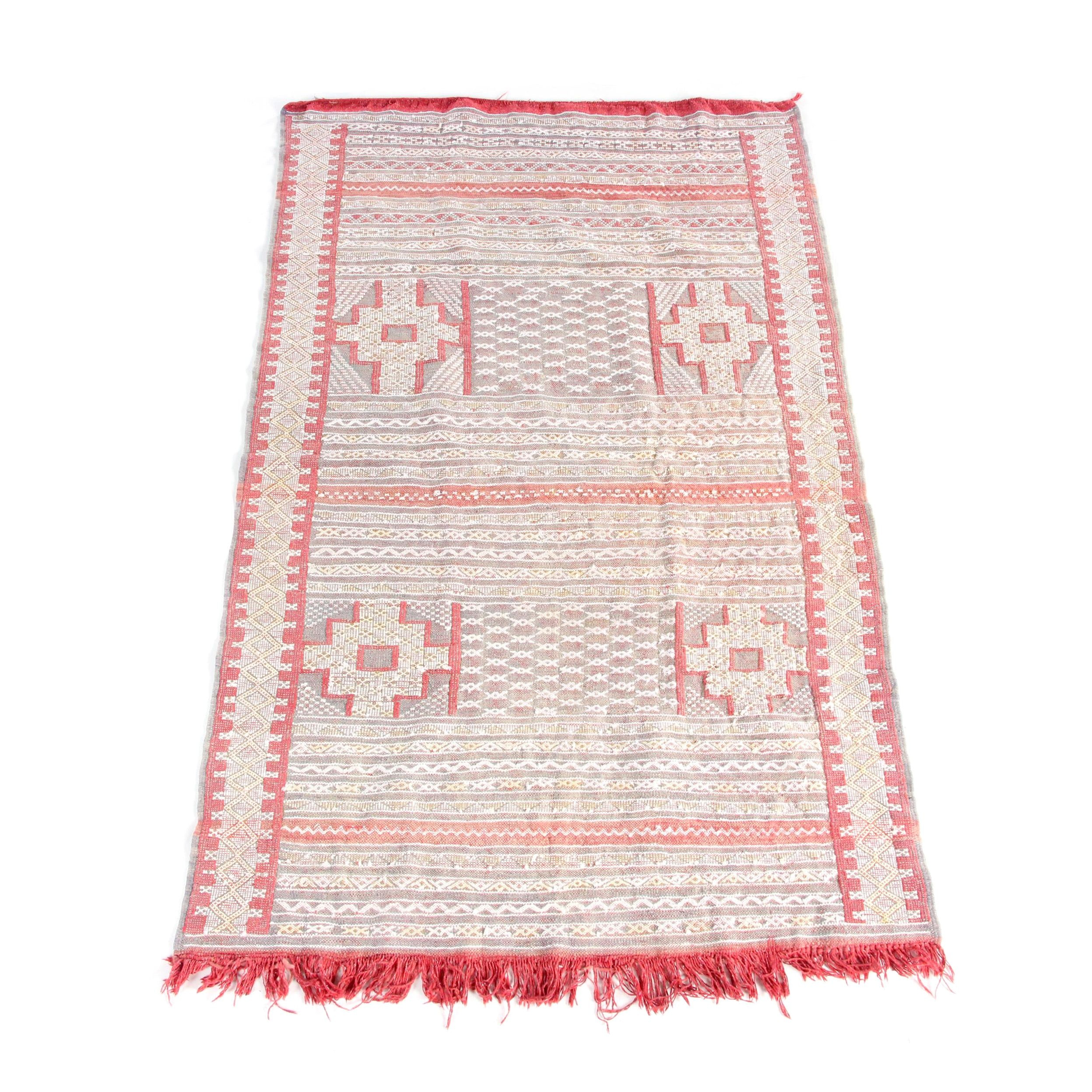 Handwoven and Embroidered Moroccan Wool Accent Rug