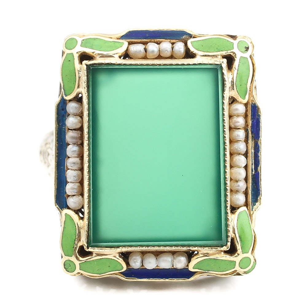 14K White Gold Chalcedony and Seed Pearl Filigree Ring with Enamel Accents