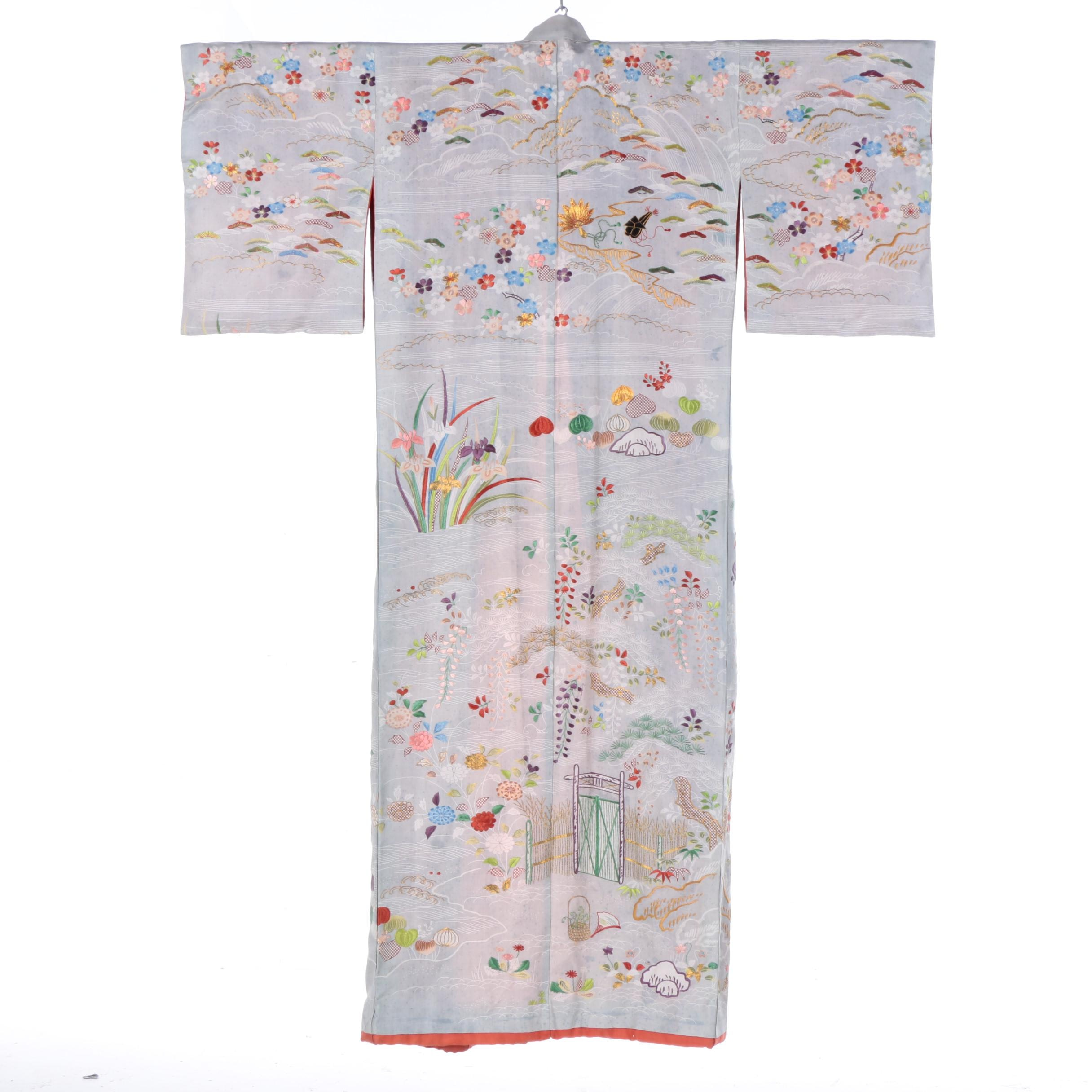 Japanese Antique Late Meiji/ Early Taisho Era Hand Embroidered Silk Kimono