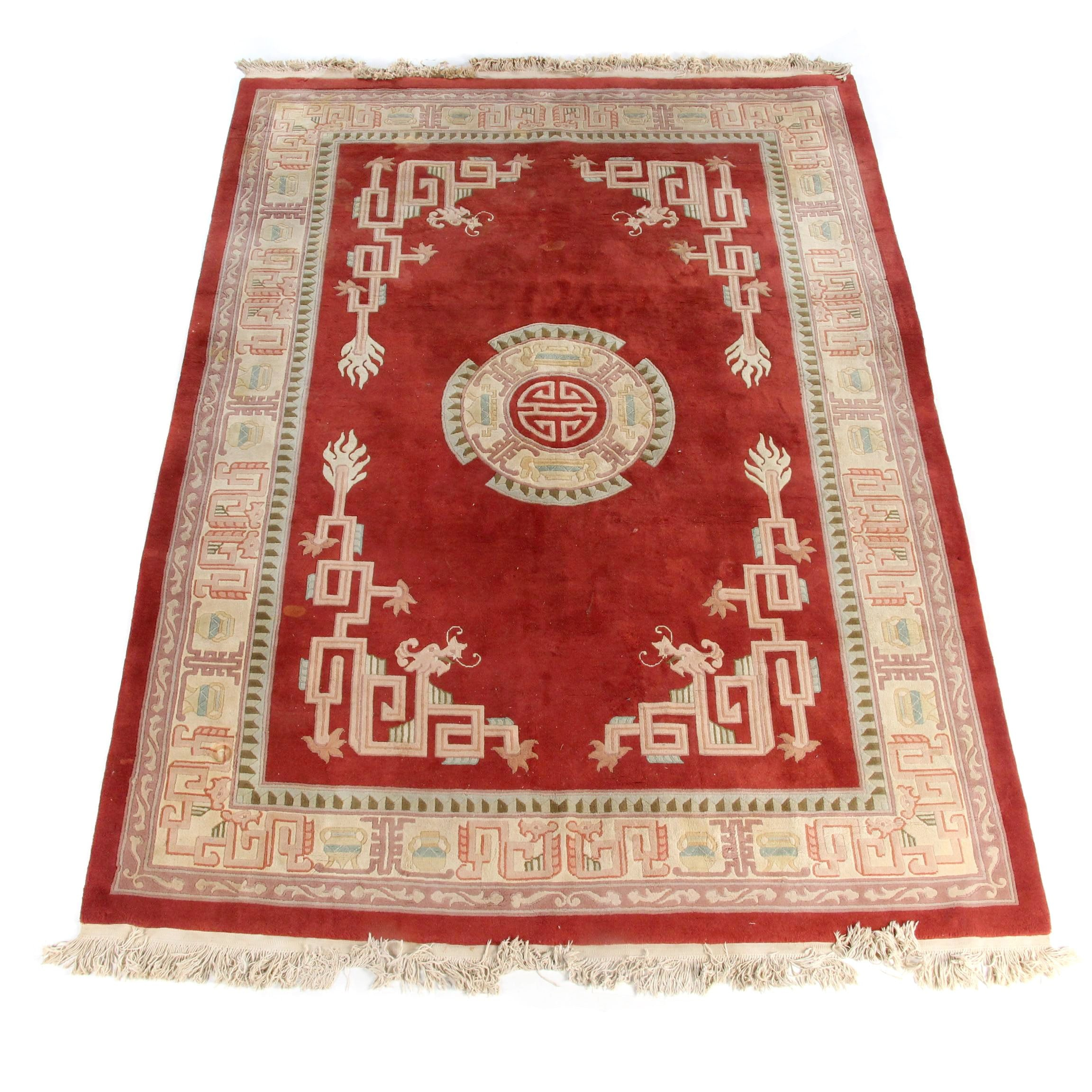 Power-Loomed Chinese Carved Wool Area Rug