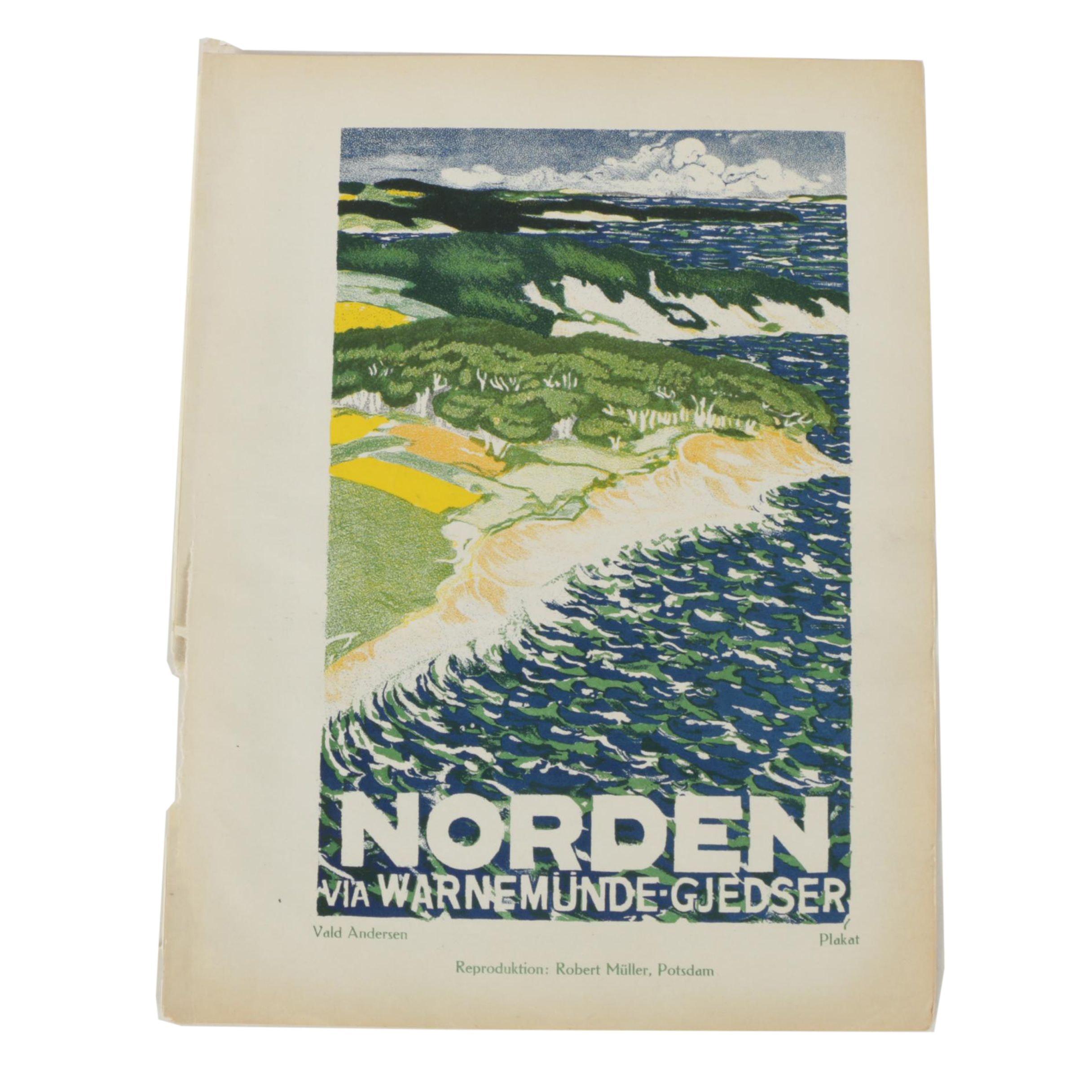 """Vintage Lithograph After Vald Andersen """"Norden via Warnemünde-Gjedser"""""""