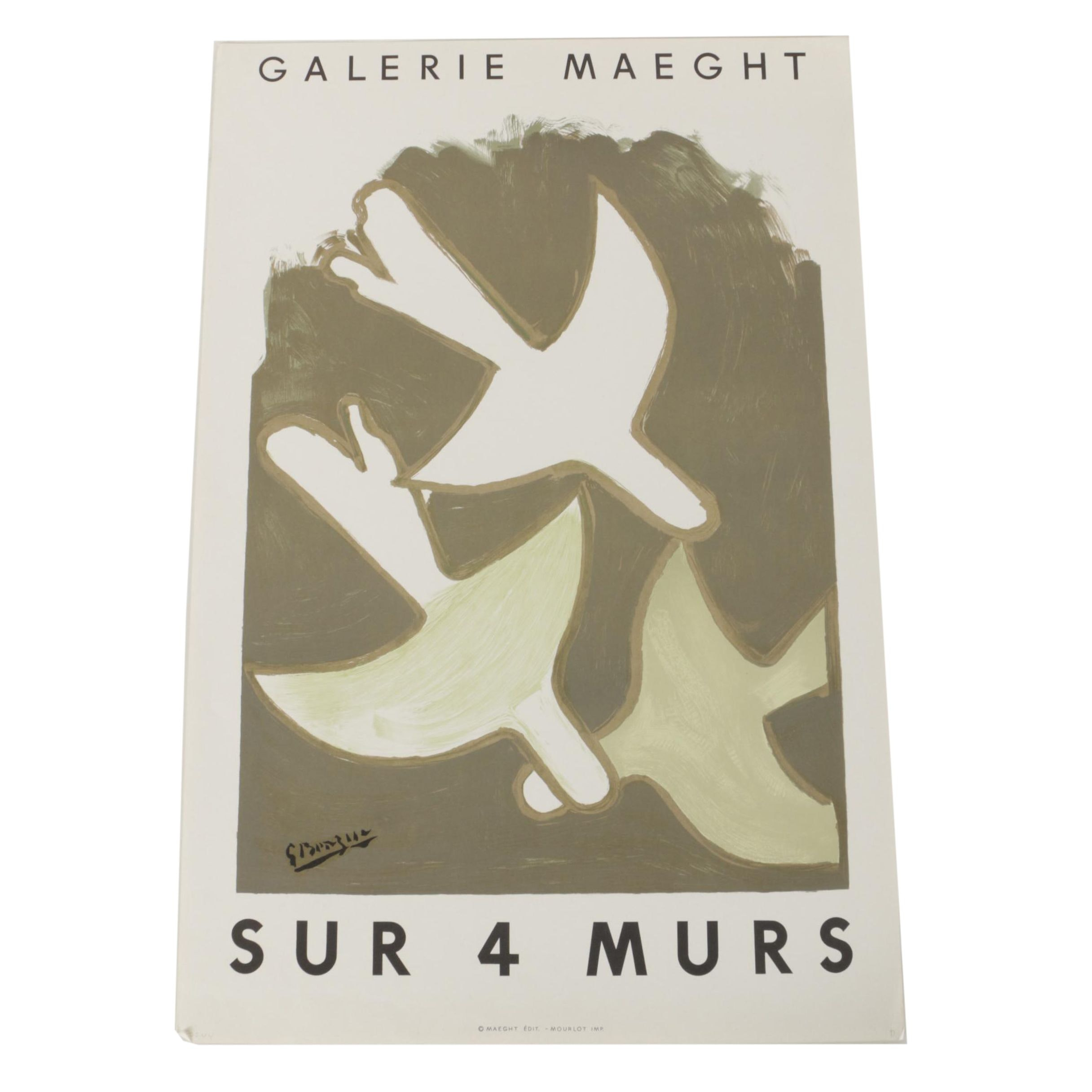 Lithograph Poster Designed by Georges Braque for Galerie Maeght Exhibition