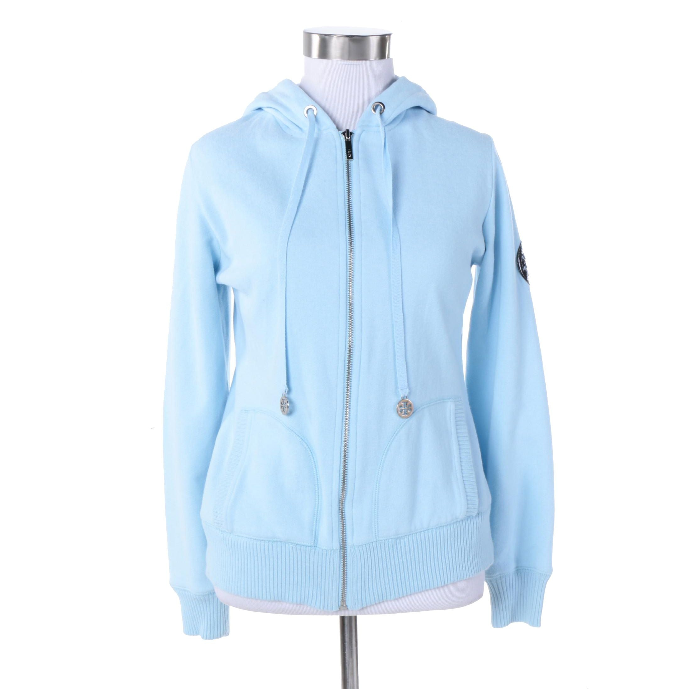 Tory Burch Zip-Up Cotton Blend Hoodie