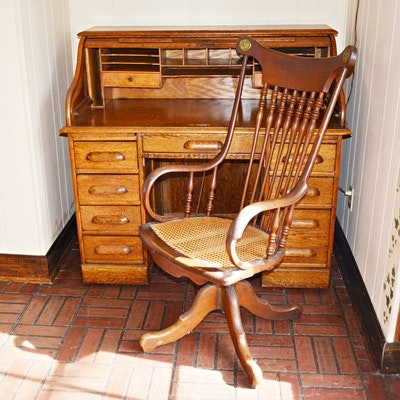 Vintage Oak Roll Top Desk and Swivel Desk Chair