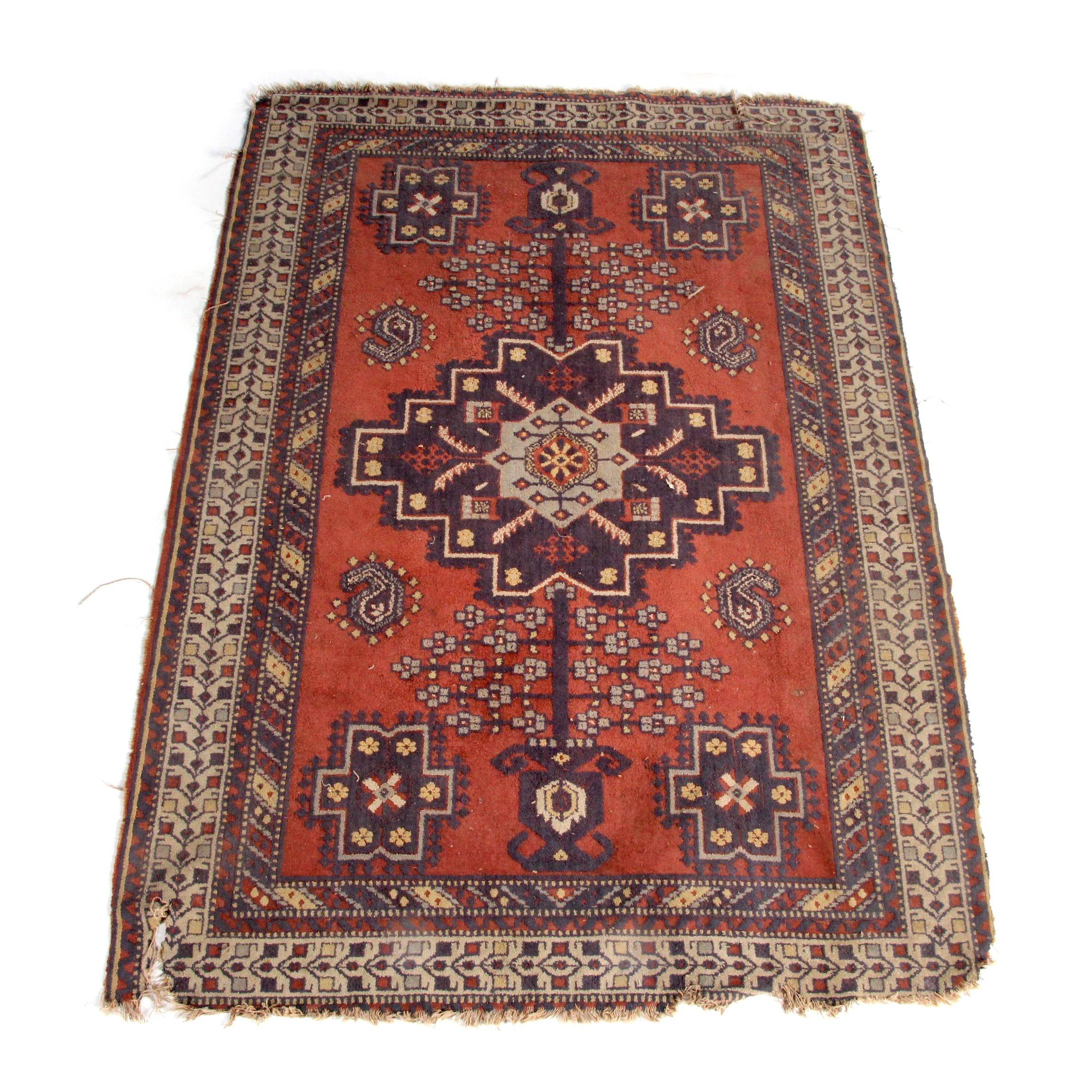 Vintage Power-Loomed Kazak Style Wool Accent Rug