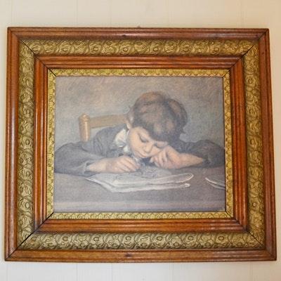 "Vintage Oil Painting ""Boy Writing"" After Pierre-Auguste Renoir"