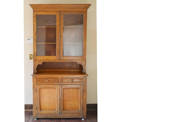 antique oak kitchen cabinet antique oak china cabinet ebth 10665