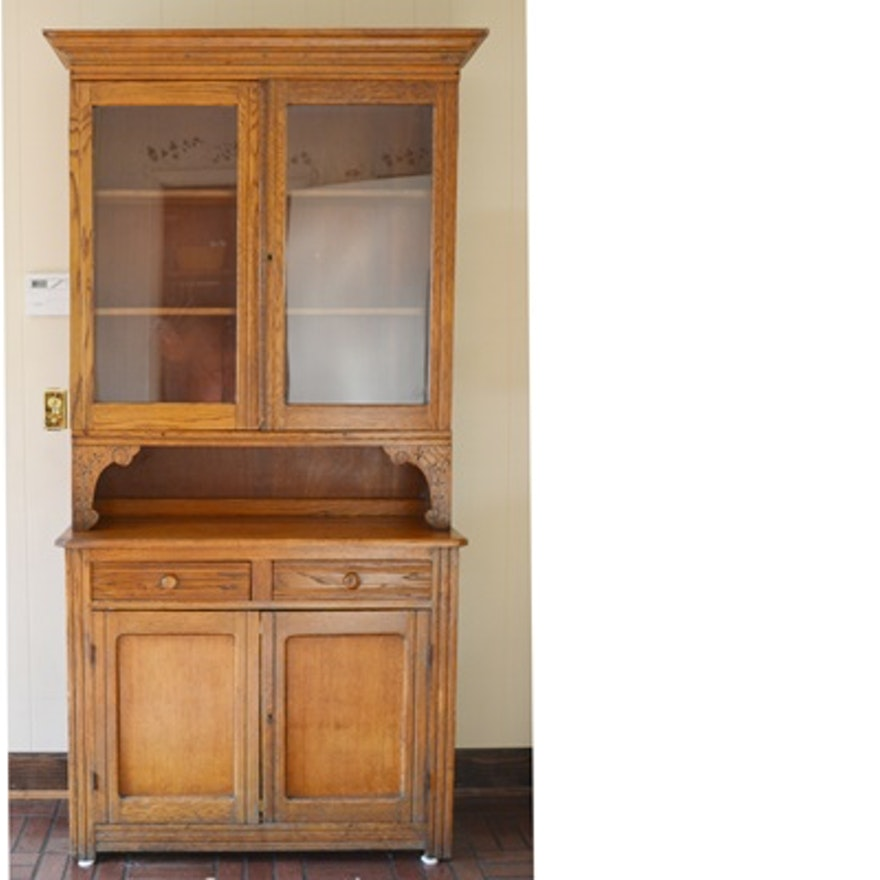 Antique Oak China Cabinet ... - Antique Oak China Cabinet : EBTH