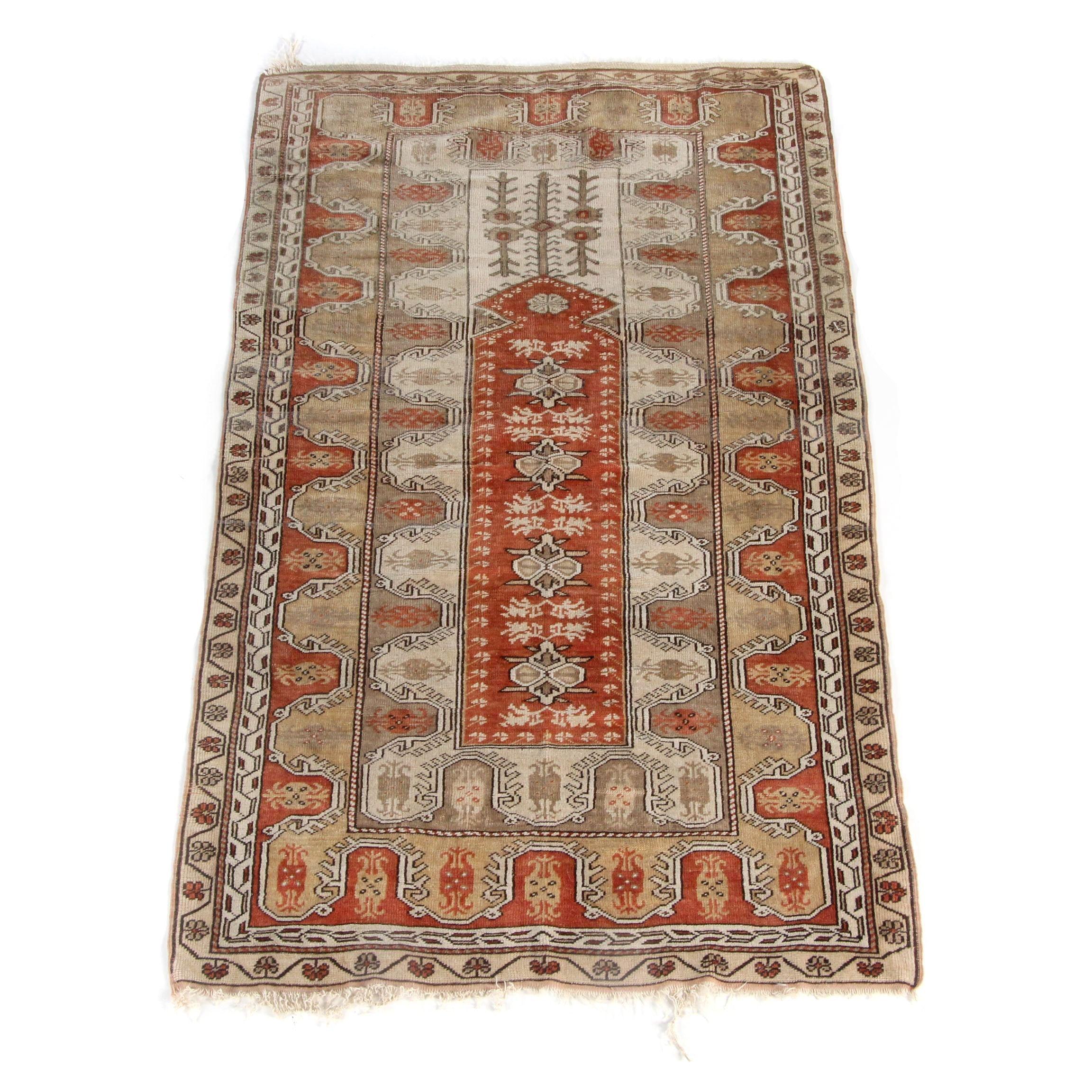 Vintage Hand-Knotted Turkish Melez Wool Prayer Rug