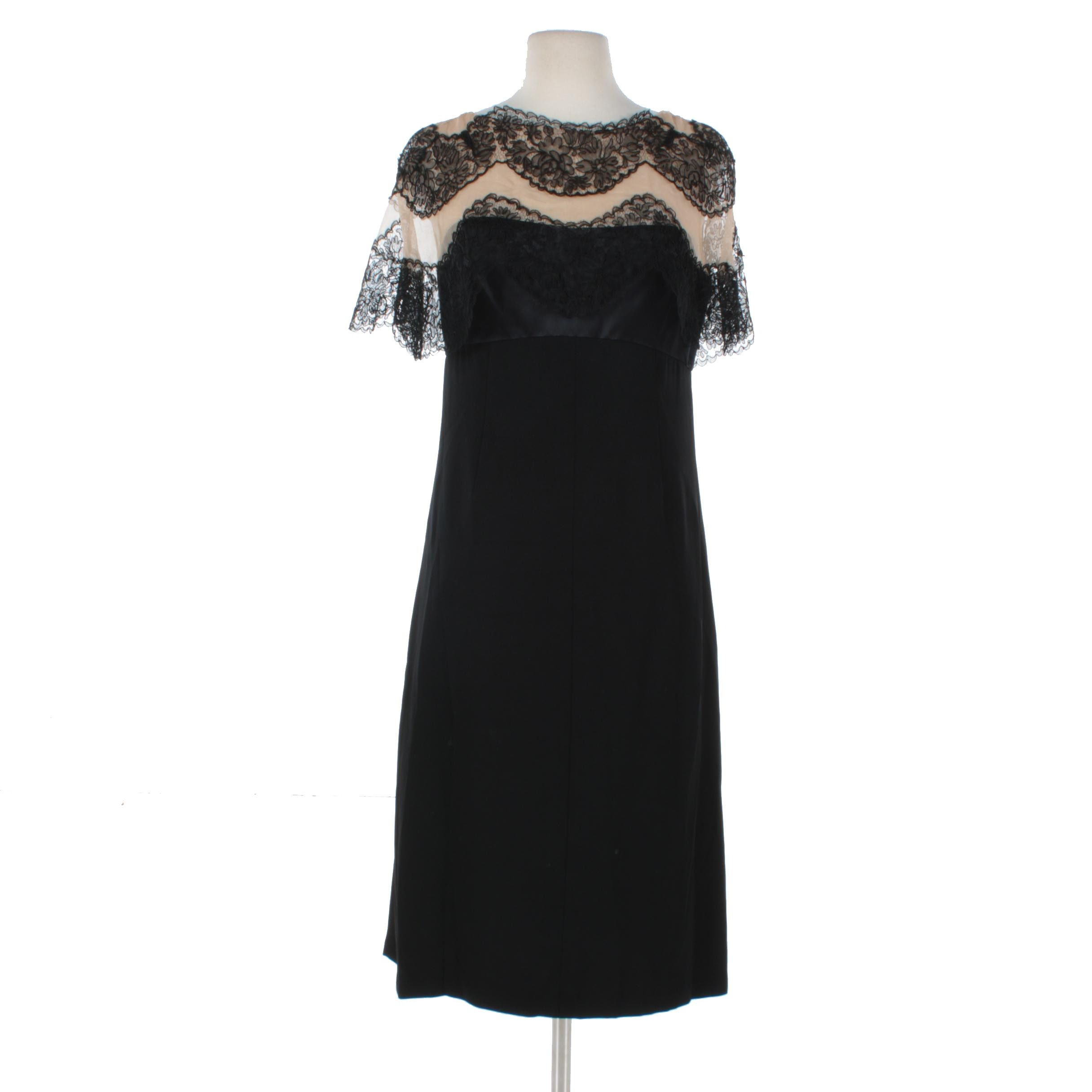 Black Lace Trim Cocktail Dress