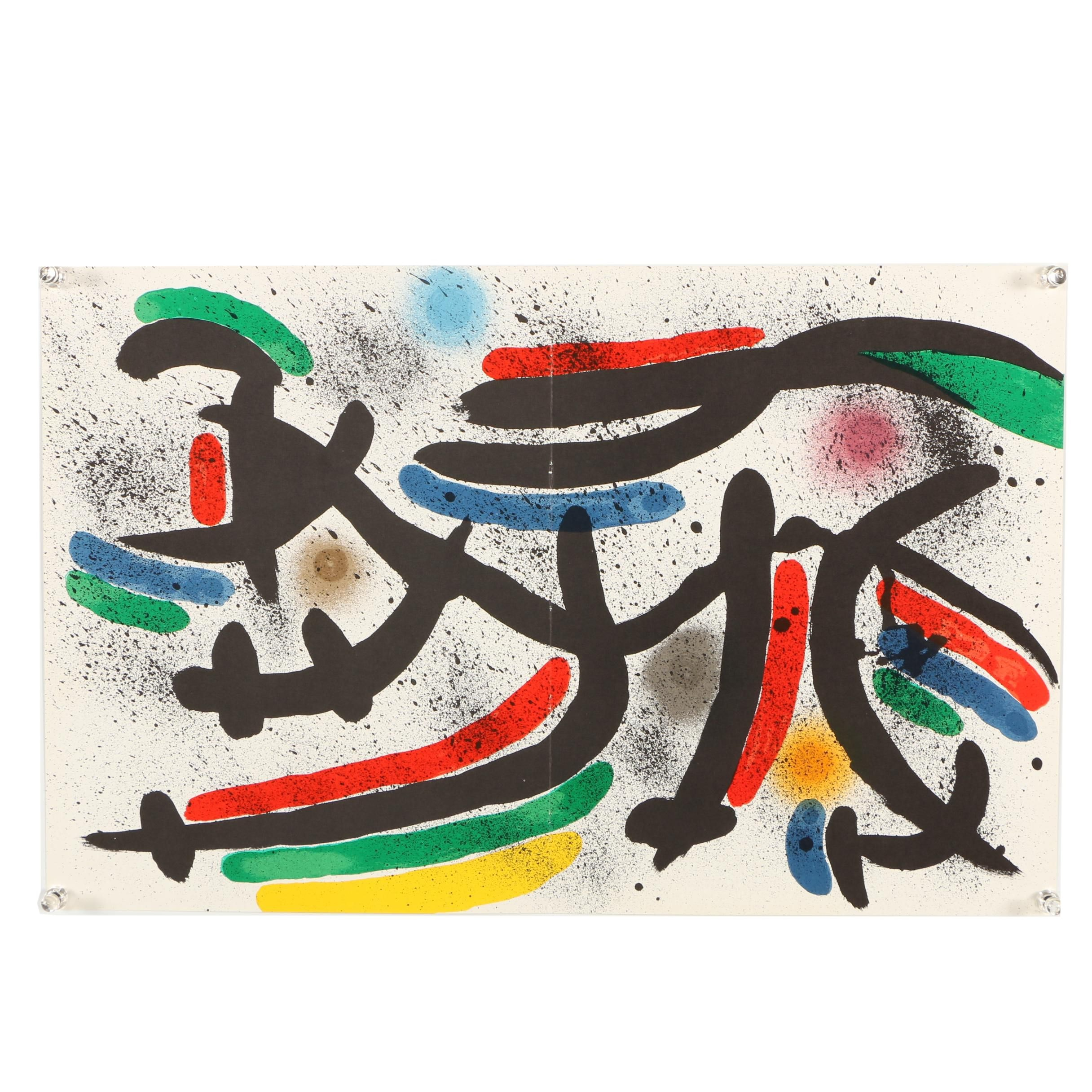 """Color Lithograph """"Plate IX"""" Designed by Joan Miro"""