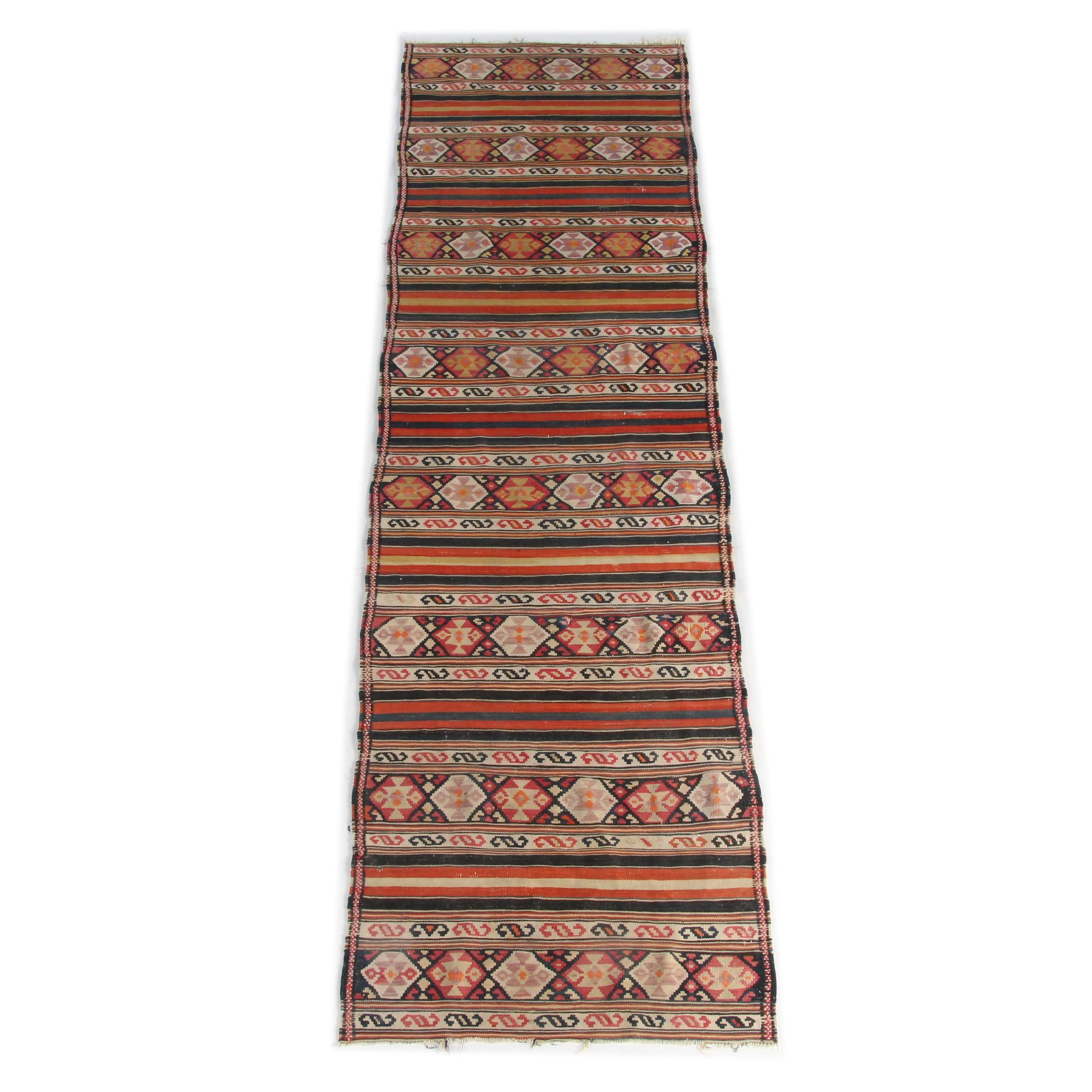 Handwoven and Embroidered Turkish Wool Kilim Runner