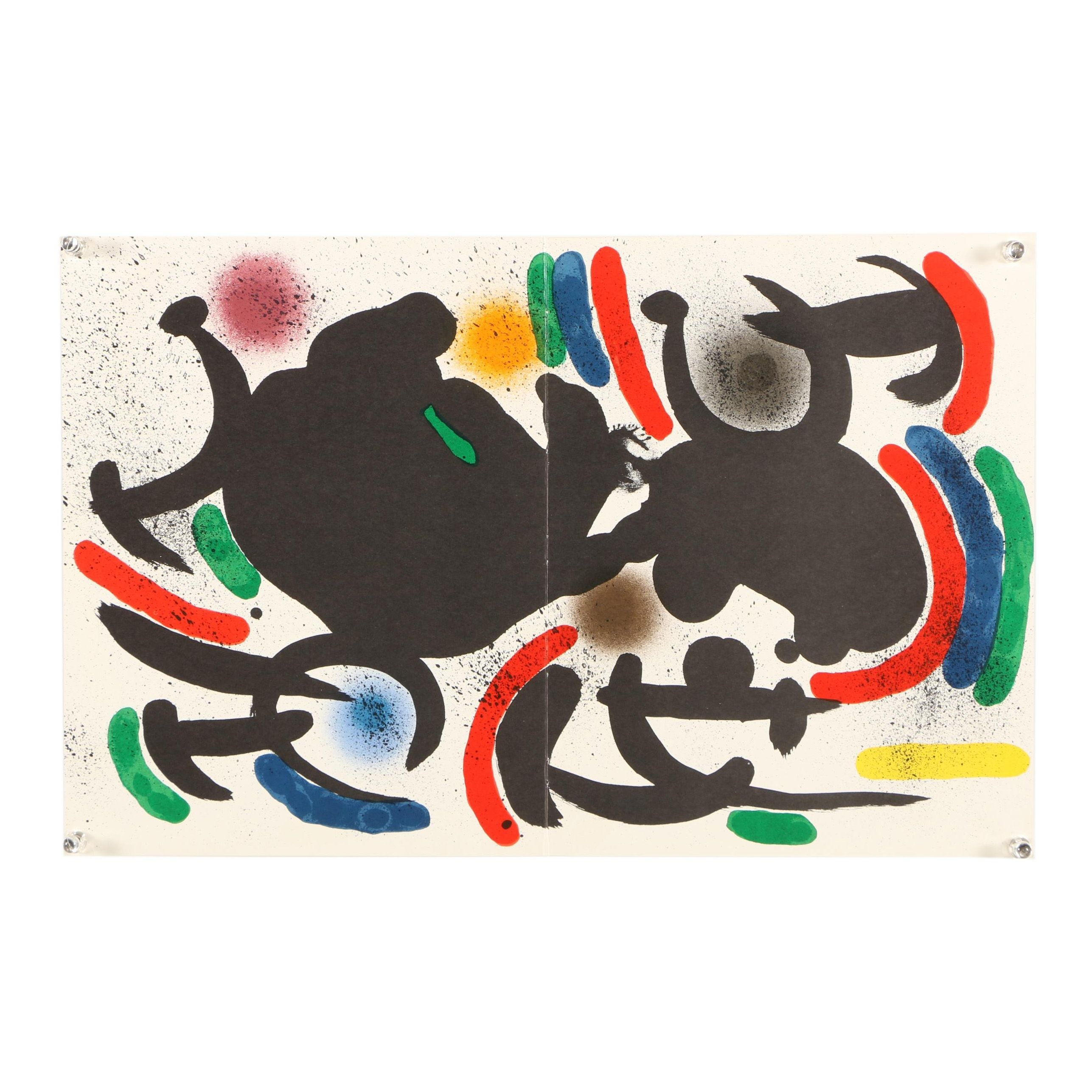 "Color Lithograph ""Plate VII"" Designed by Joan Miro"