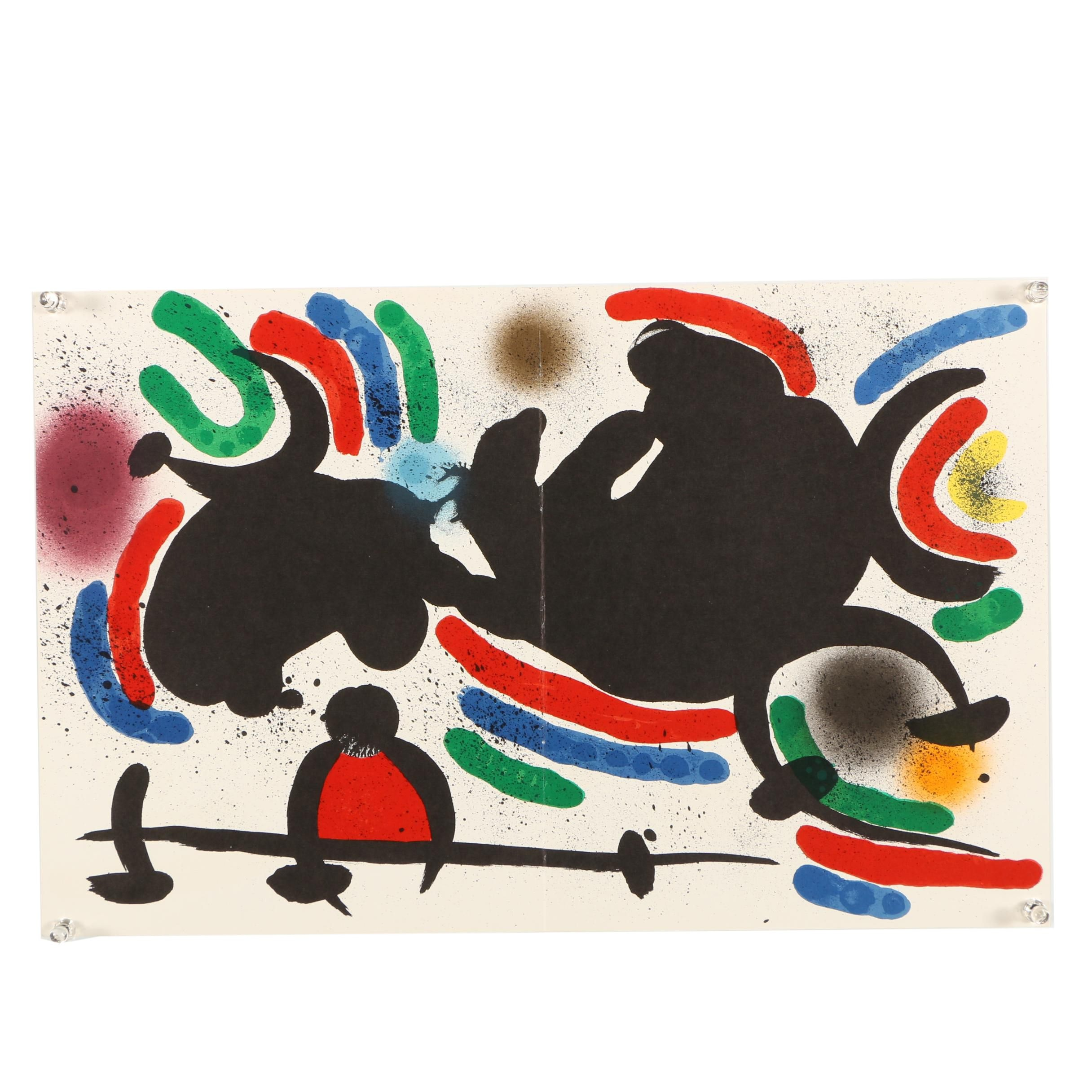 """Color Lithograph """"Plate IV"""" Designed by Joan Miro"""