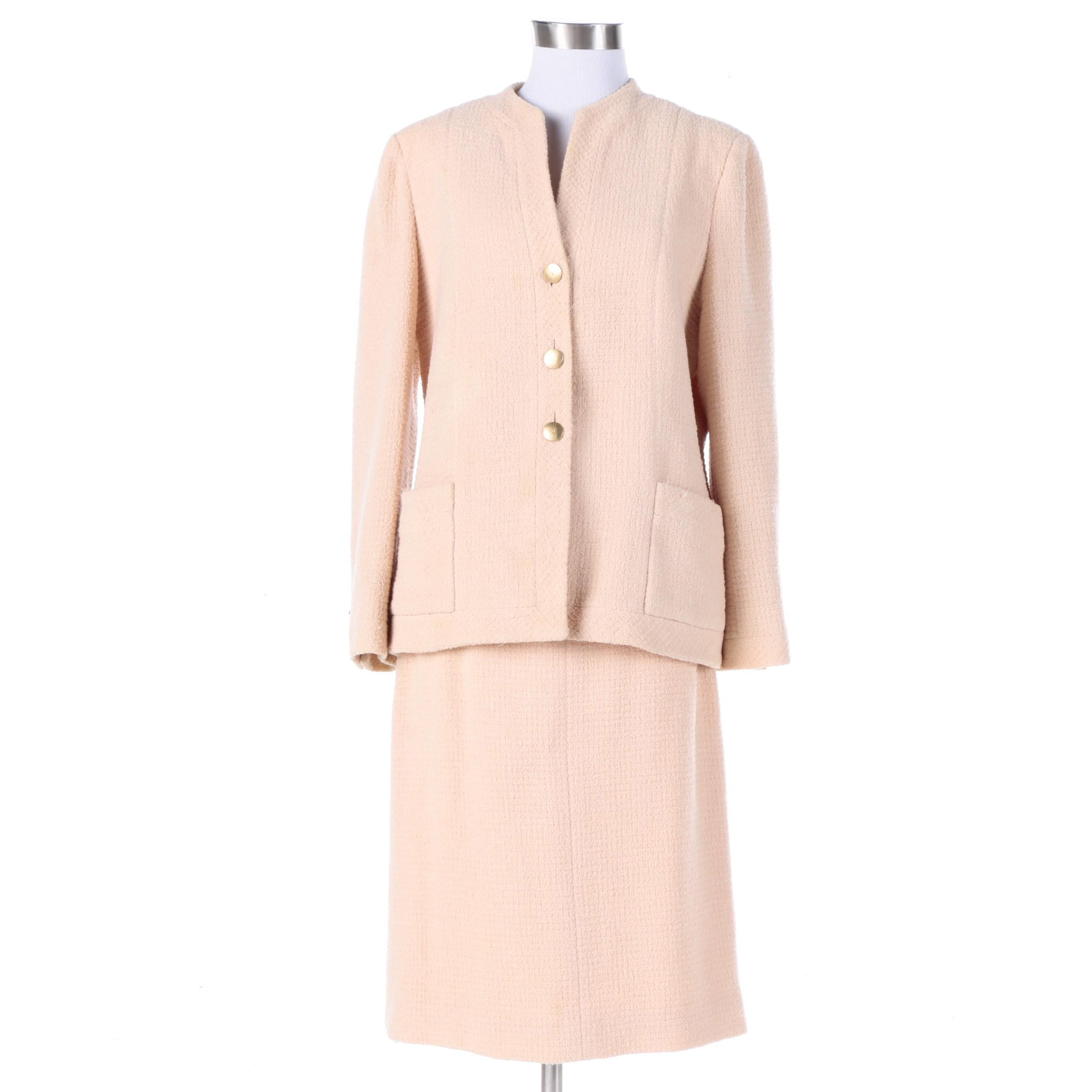 Chanel Boutique Tweed Wool Blend Skirt Suit