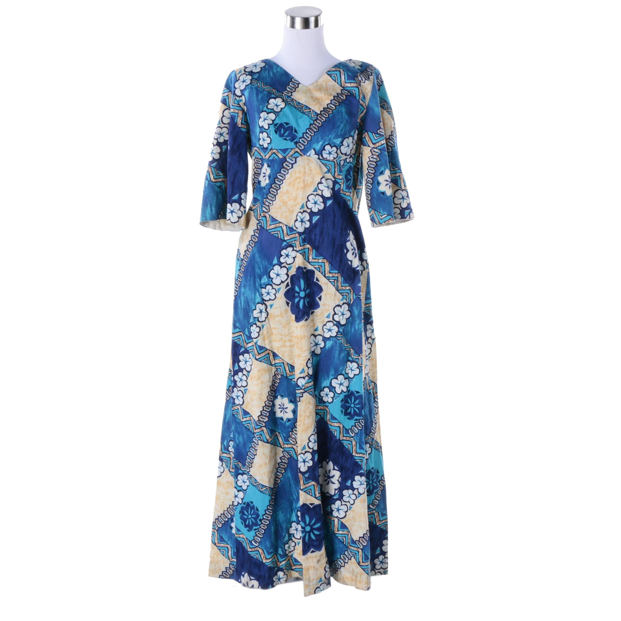 Women's 1970s Vintage Maluna Hawaii Maxi Dress