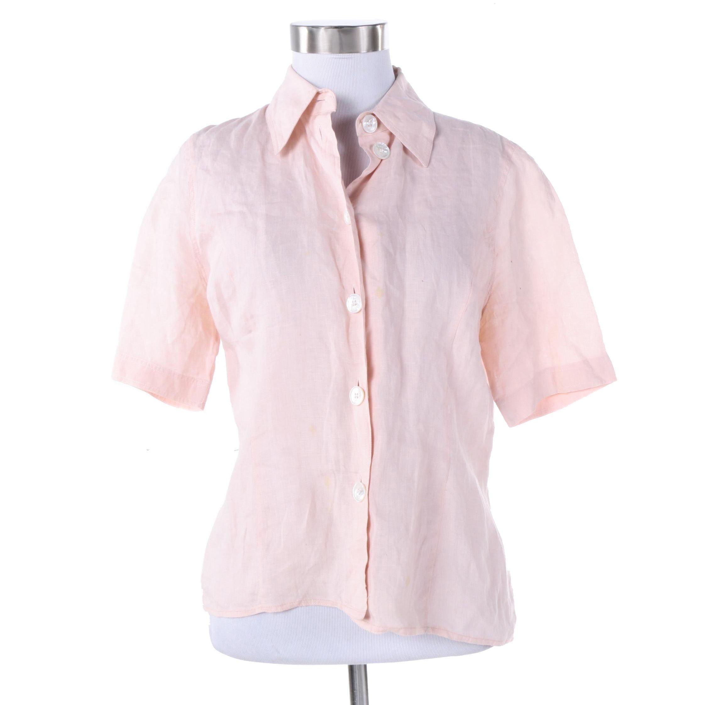 Women's Vintage Hermès of Paris Pink Linen Blouse