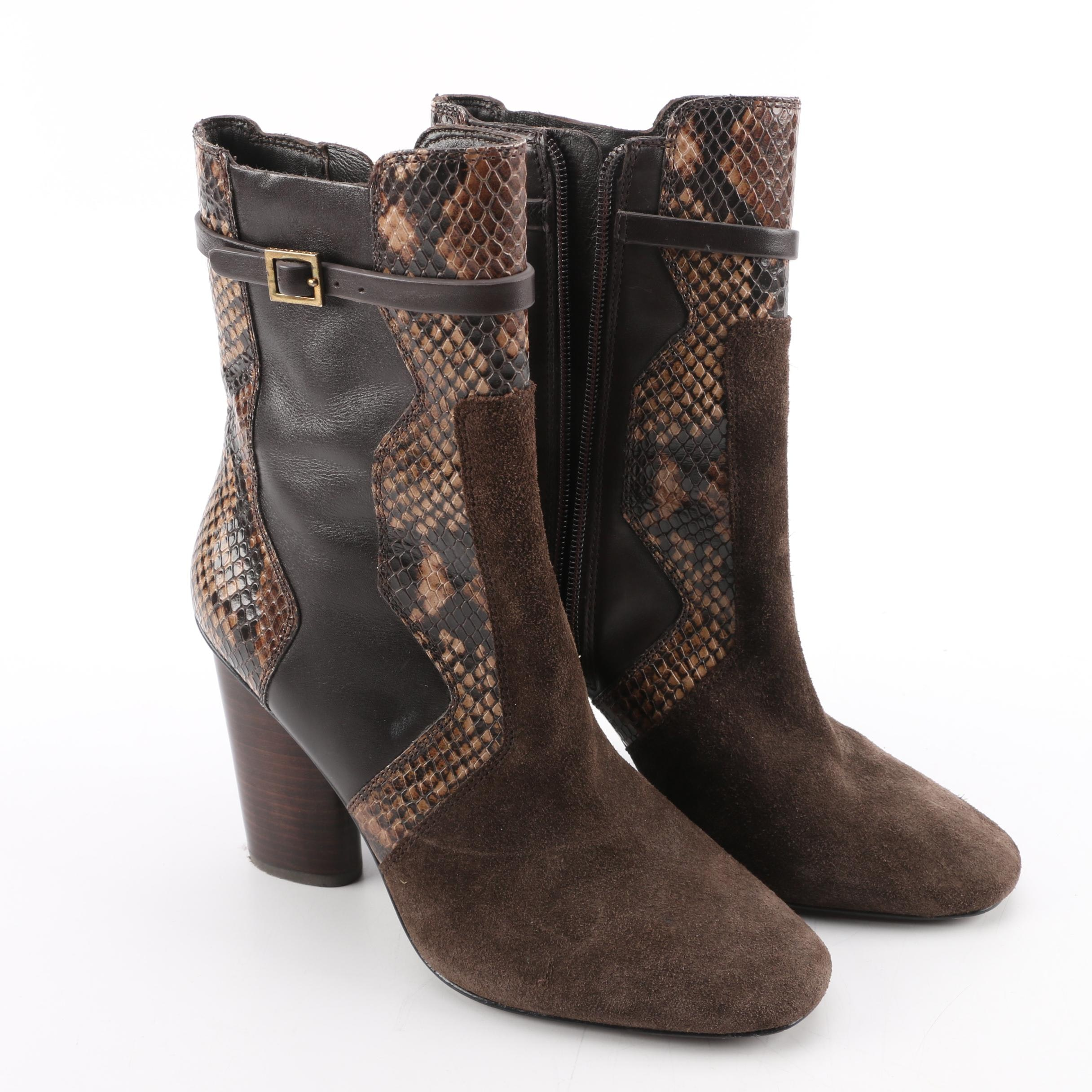 Tory Burch Brown Suede and Leather Boots