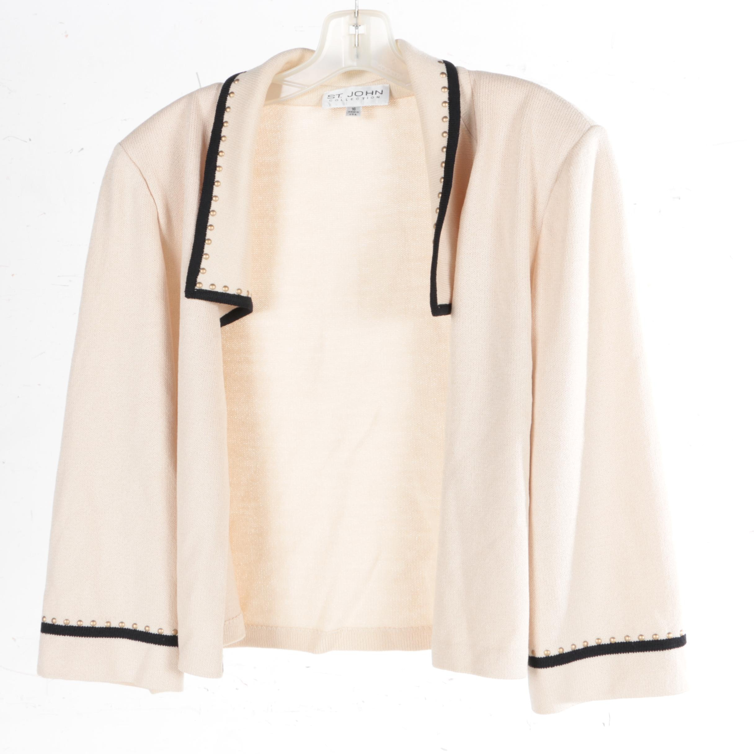 St. John Collection Ivory Studded Knit Open Cardigan