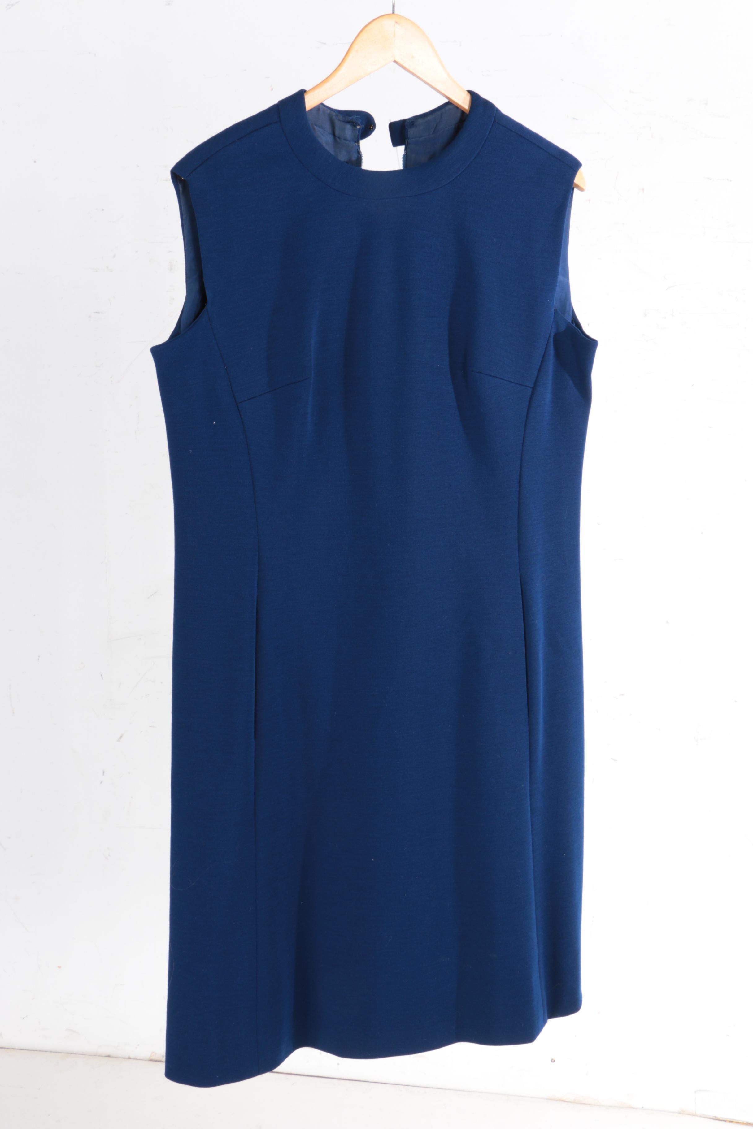 Vintage Pauline Trigère Blue Dress
