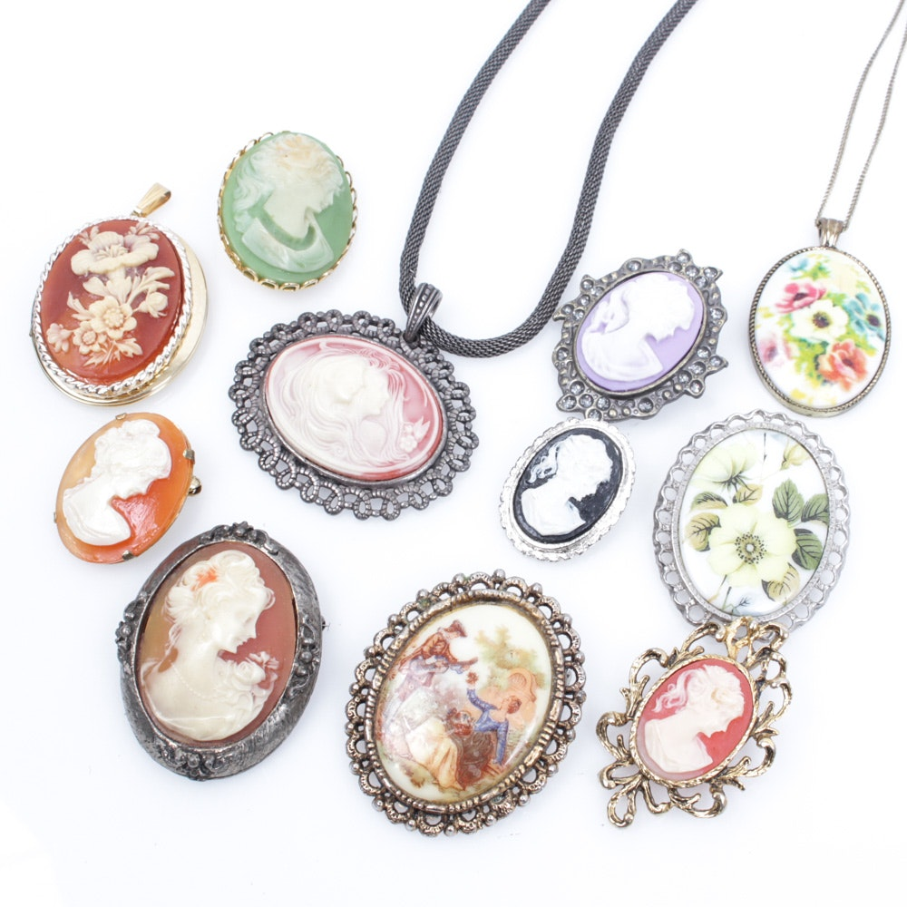 Collection of Vintage Cameo Brooches and Pendants