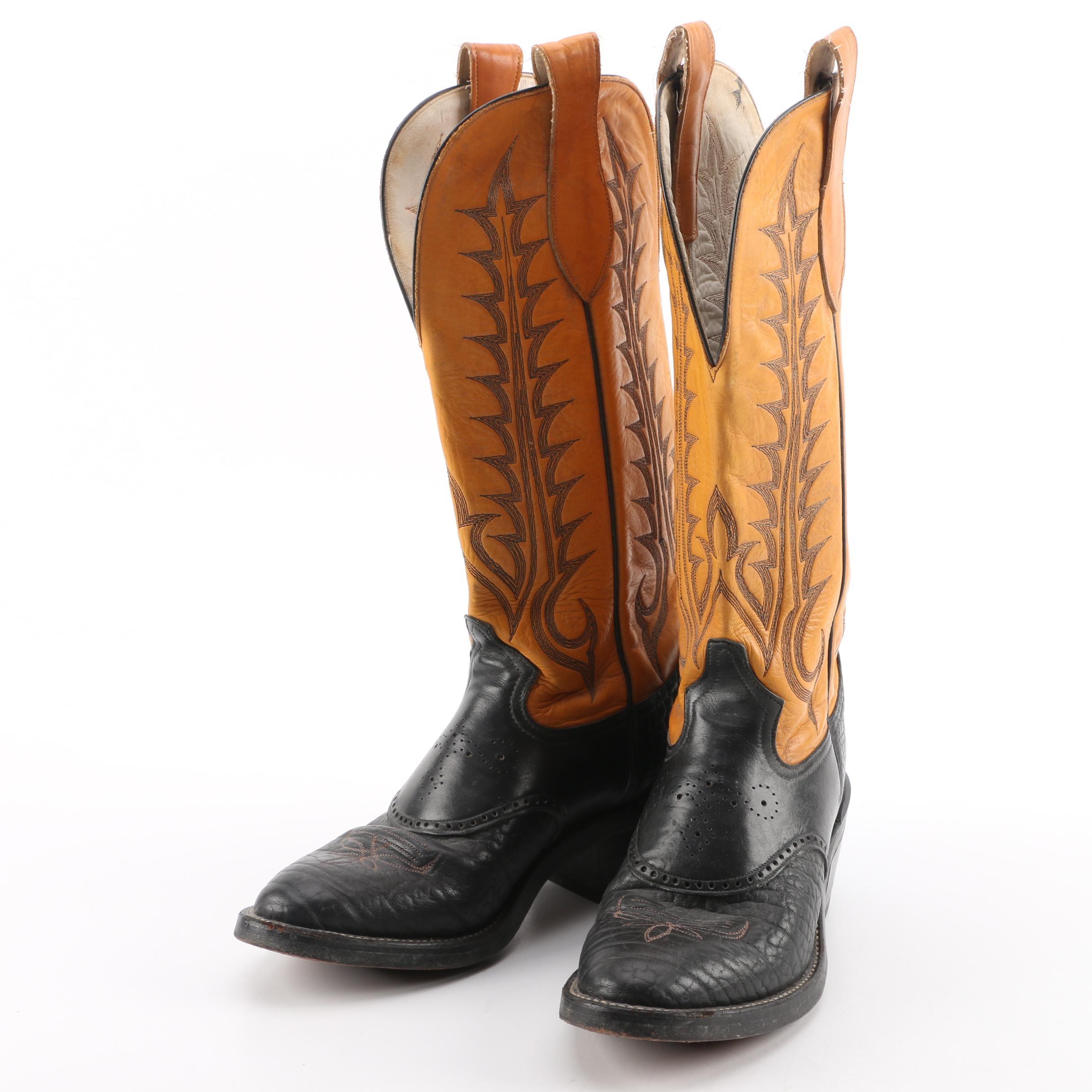 Men's Tony Lama of El Paso, Texas Buckaroo Leather Cowboy Boots