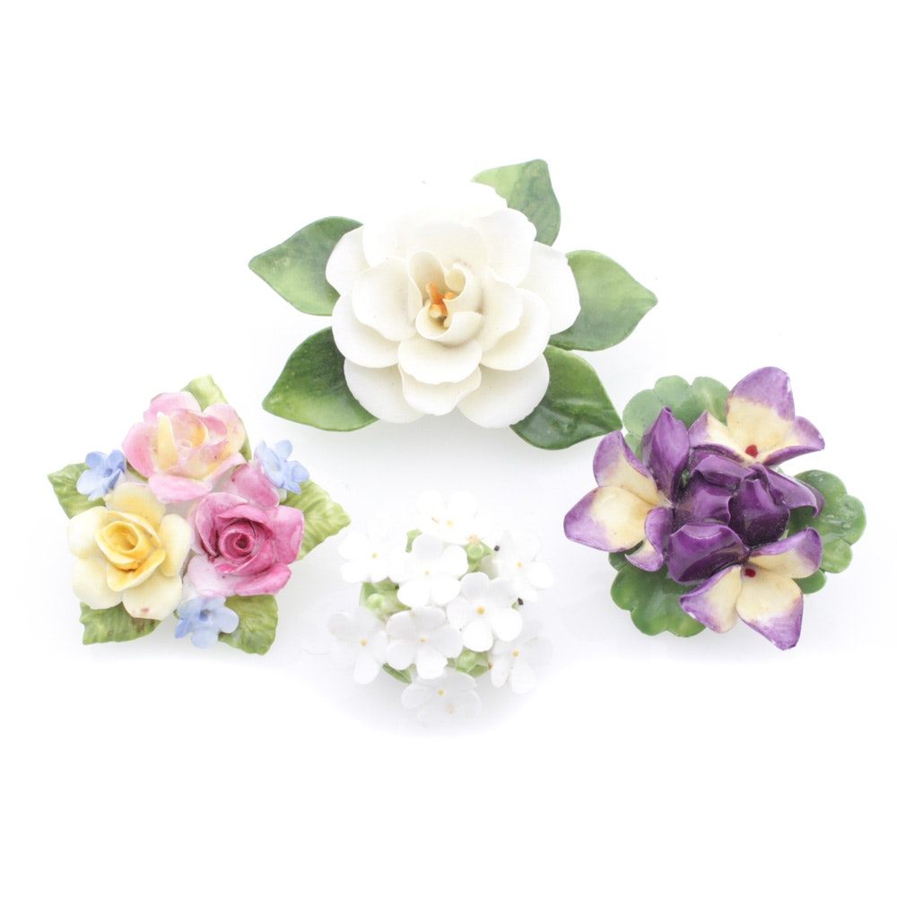 Vintage Staffordshire Floral Brooches