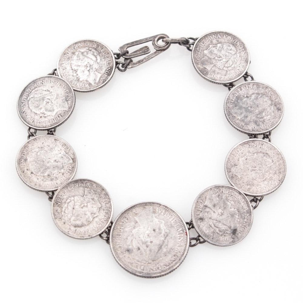 Vintage Sterling Silver Netherland Coin Bracelet