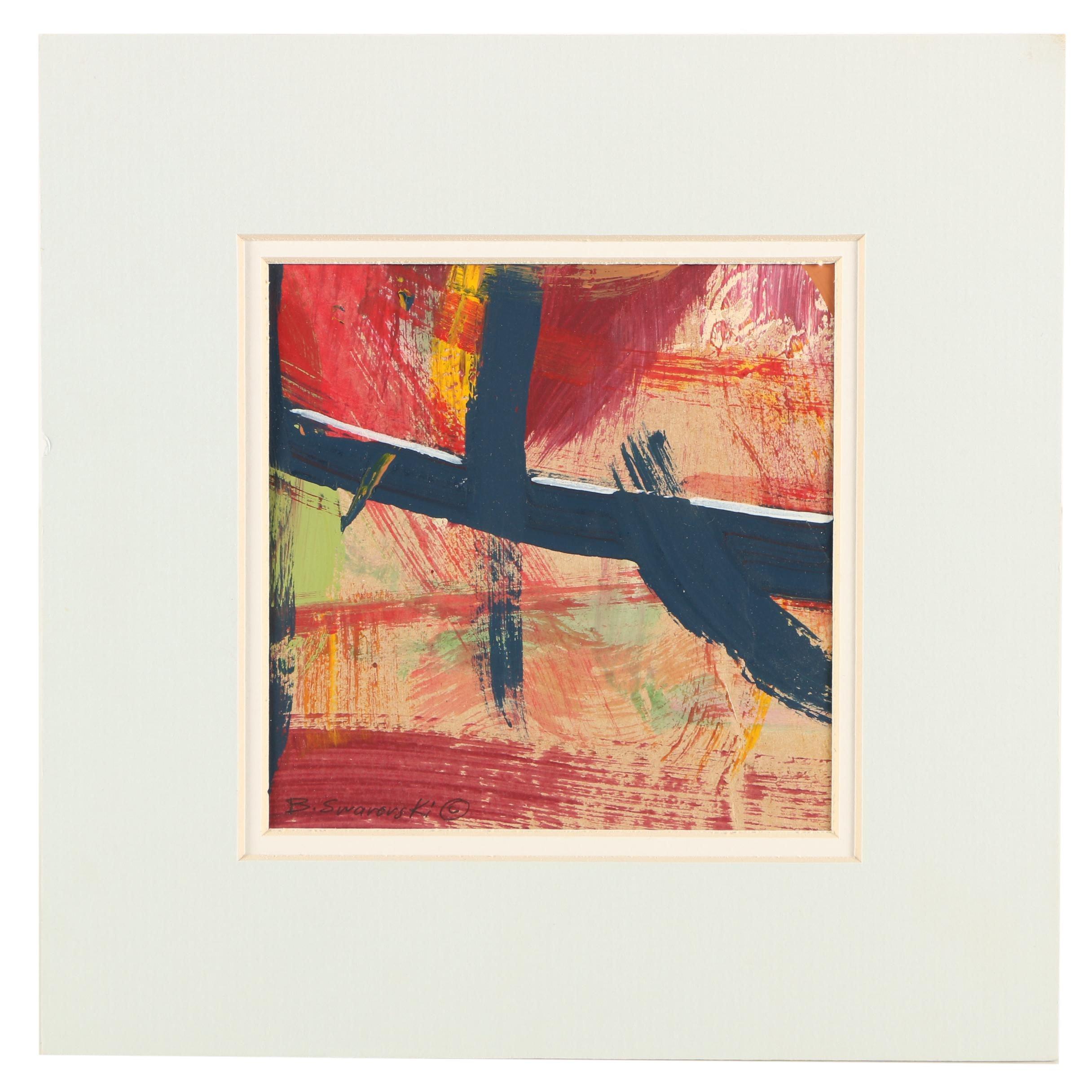 "Barbara Swarovski Mixed Media Painting ""Bridge"""