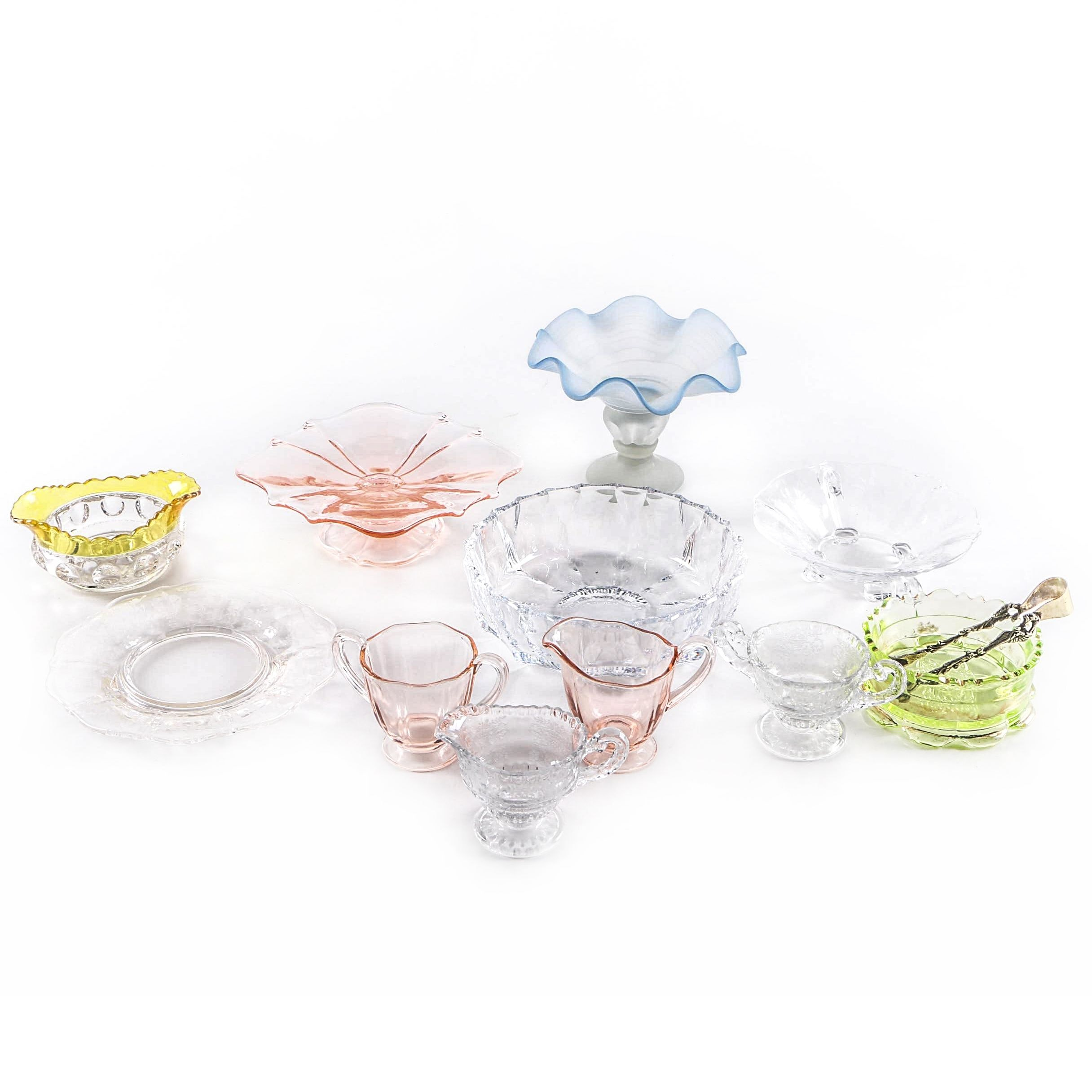 Hand Blown Glass Compote with Glass and Crystal Assortment