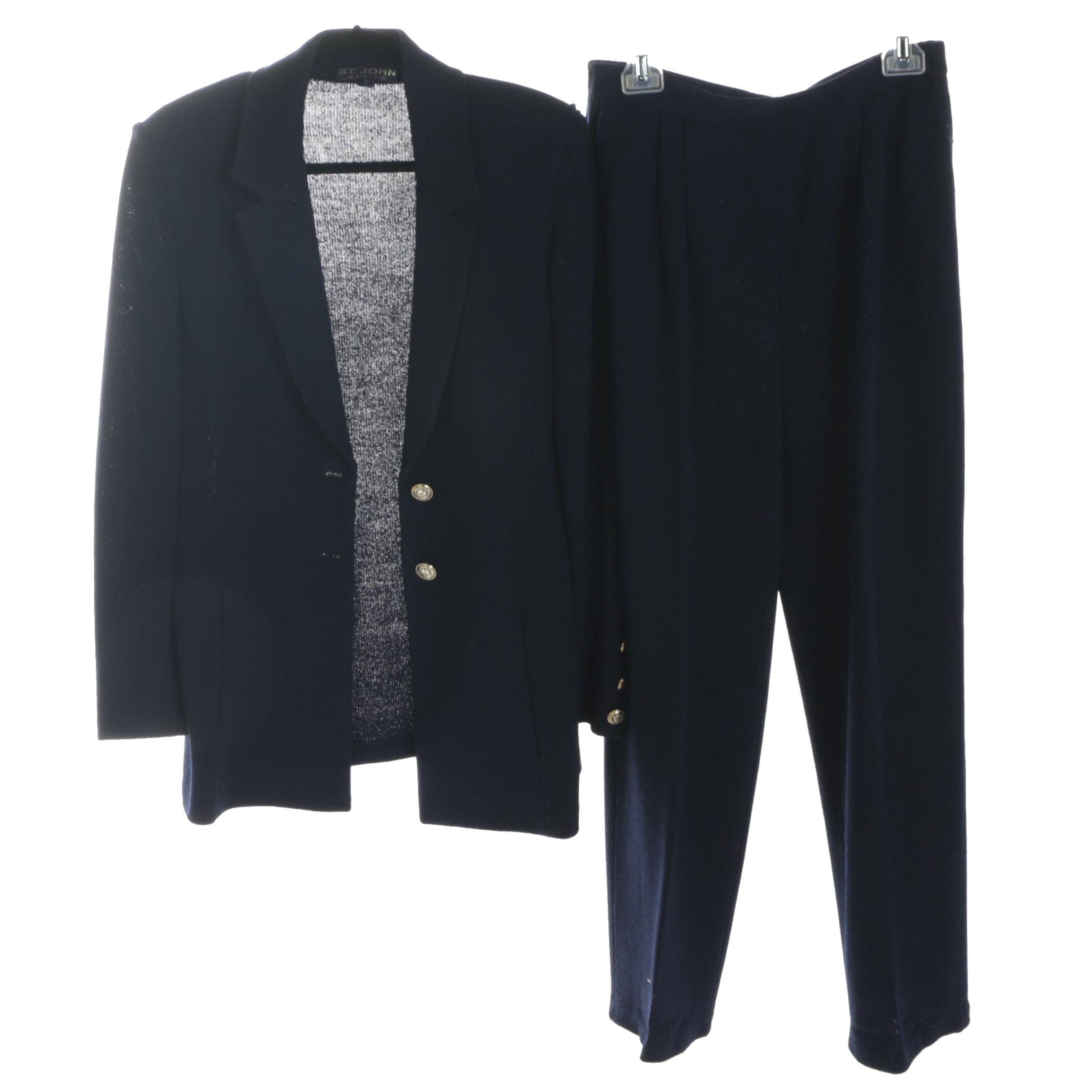St. John Basics Navy Knit Pantsuit