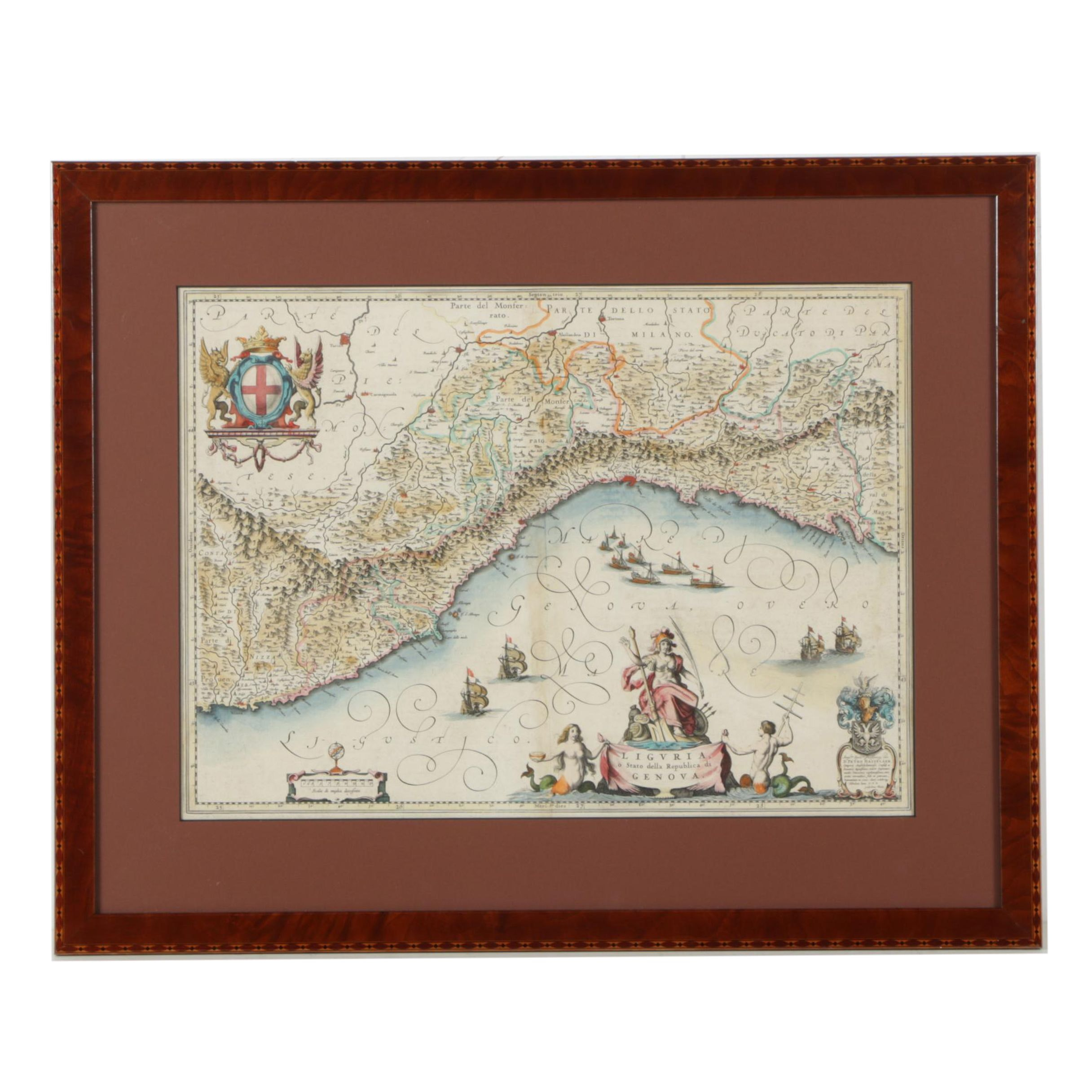 Hand-Colored Engraving After Willem Janszoon Blaeu's Map of Liguria, Italy