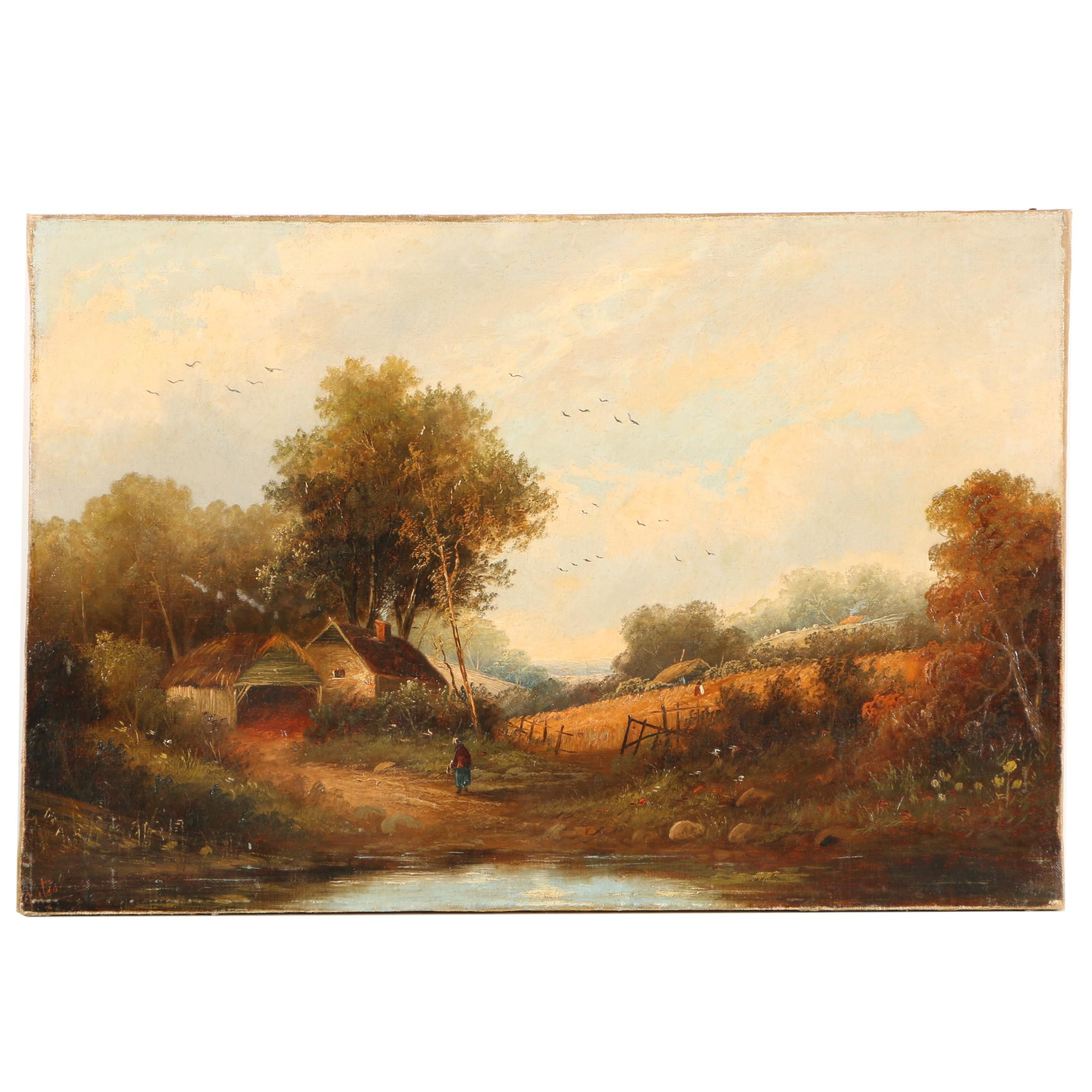 Gates Oil Painting of a Pastoral Landscape