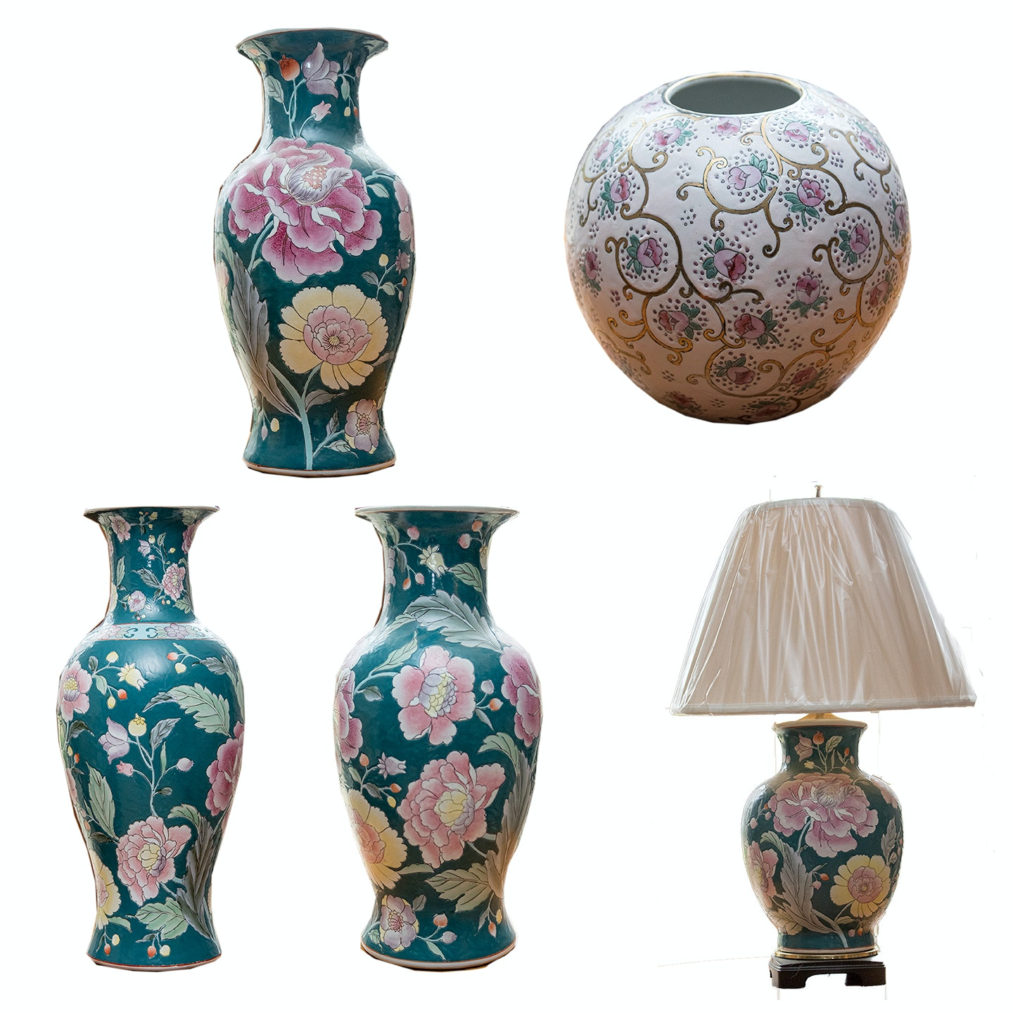 Chinese Style Floral Vases and Table Lamp