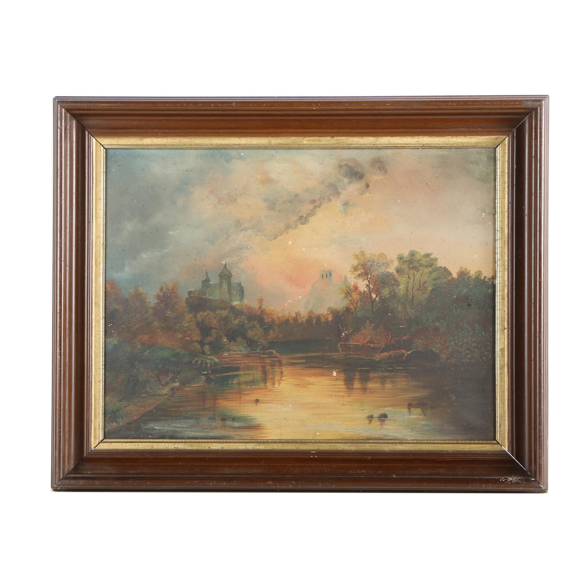 Mid 19th Century European Oil Painting of Landscape with Castle