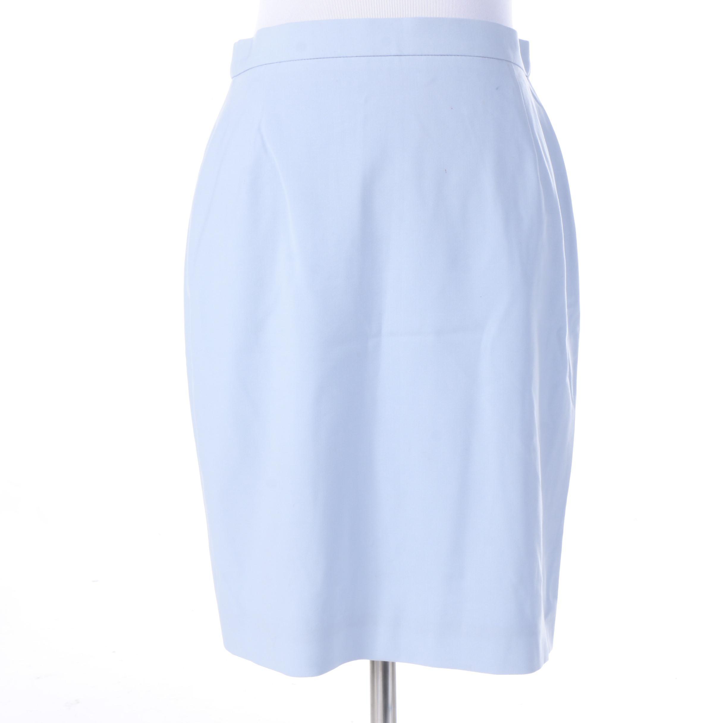 Escada Pastel Blue Stretch Wool Pencil Skirt